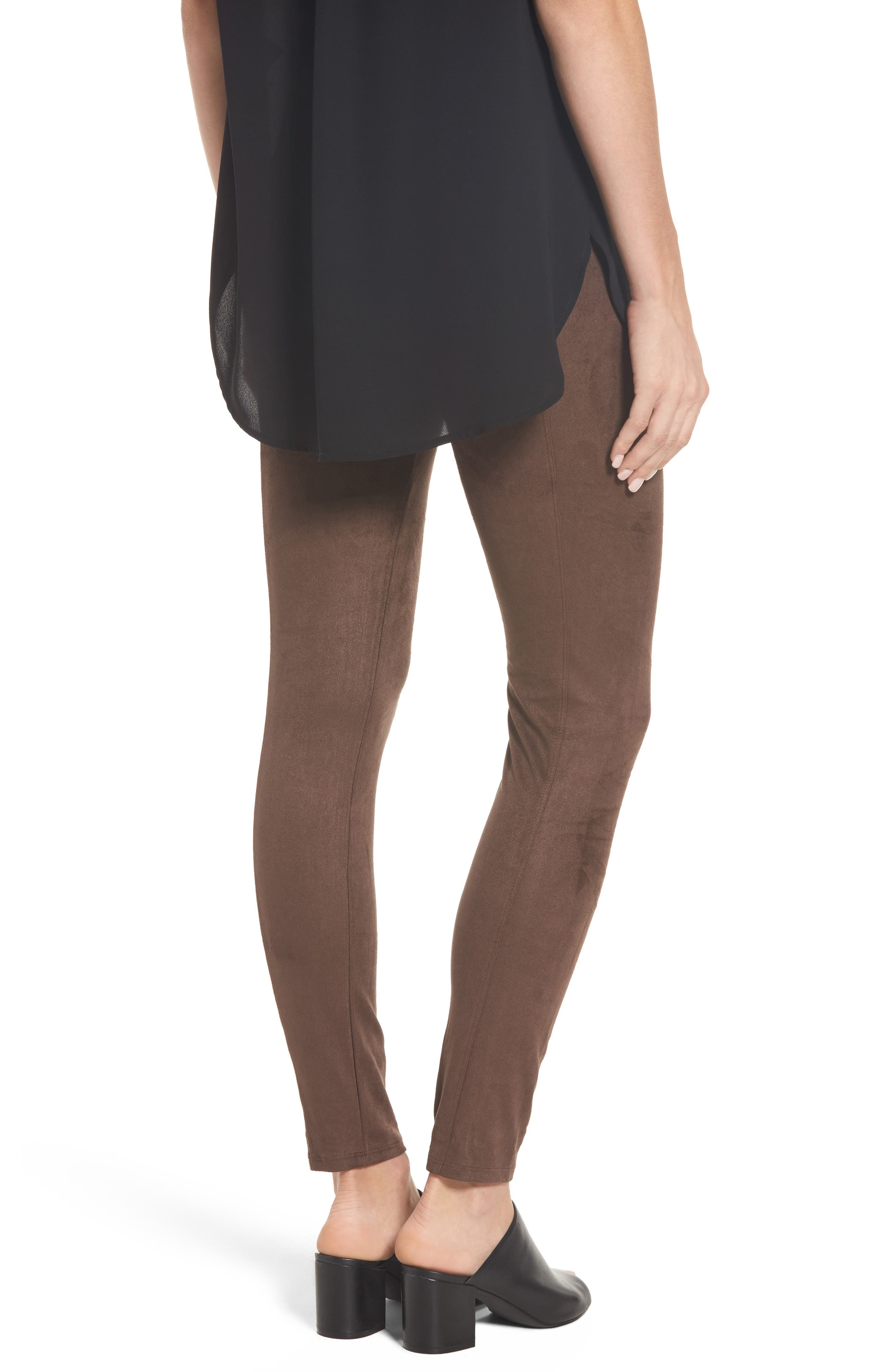 High Waist Faux Suede Leggings,                             Alternate thumbnail 2, color,                             Bourbon