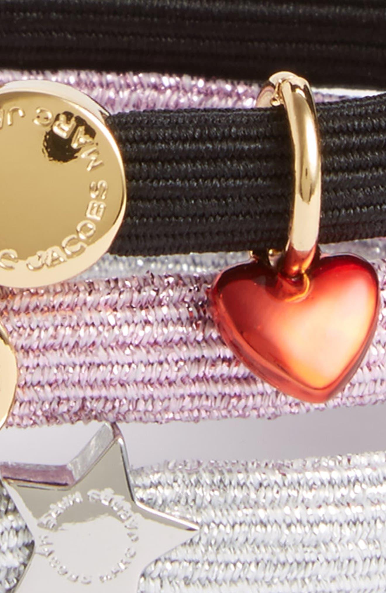 Set of 3 Heart & Star Charm Ponytail Holders,                             Alternate thumbnail 2, color,                             Pink Multi
