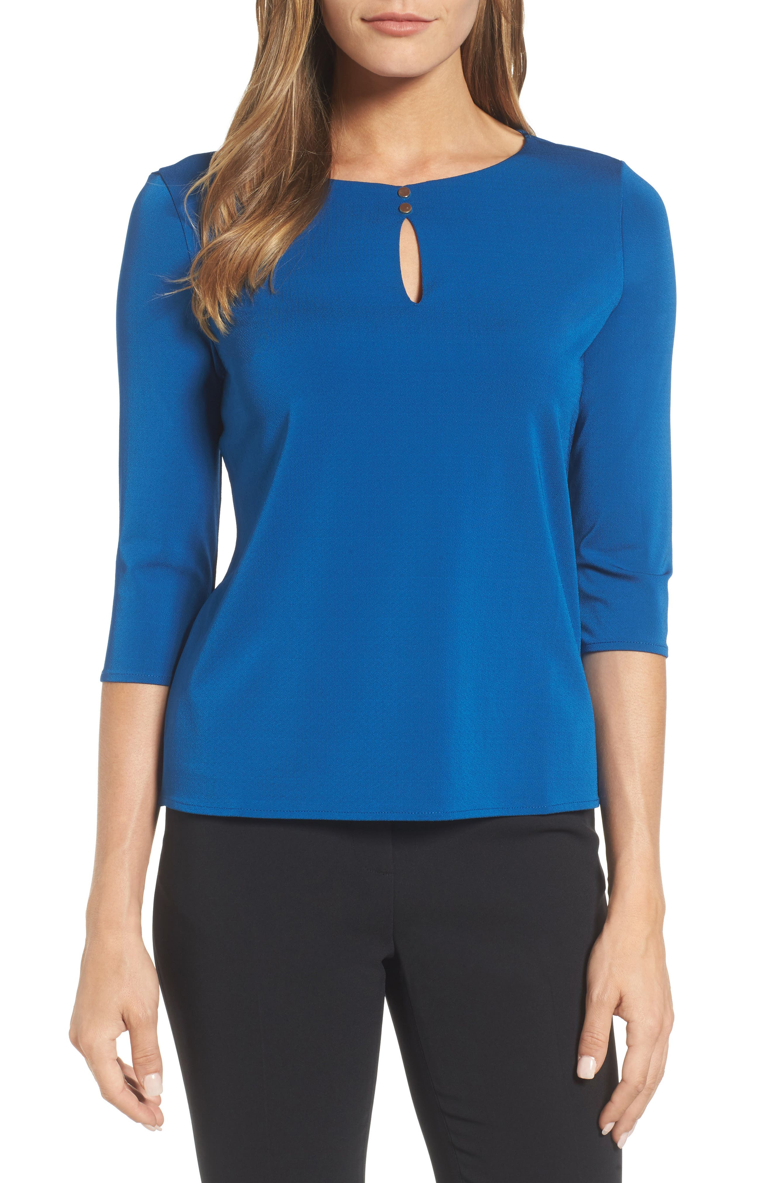 Main Image - BOSS Epina Keyhole Jersey Top (Nordstrom Exclusive)