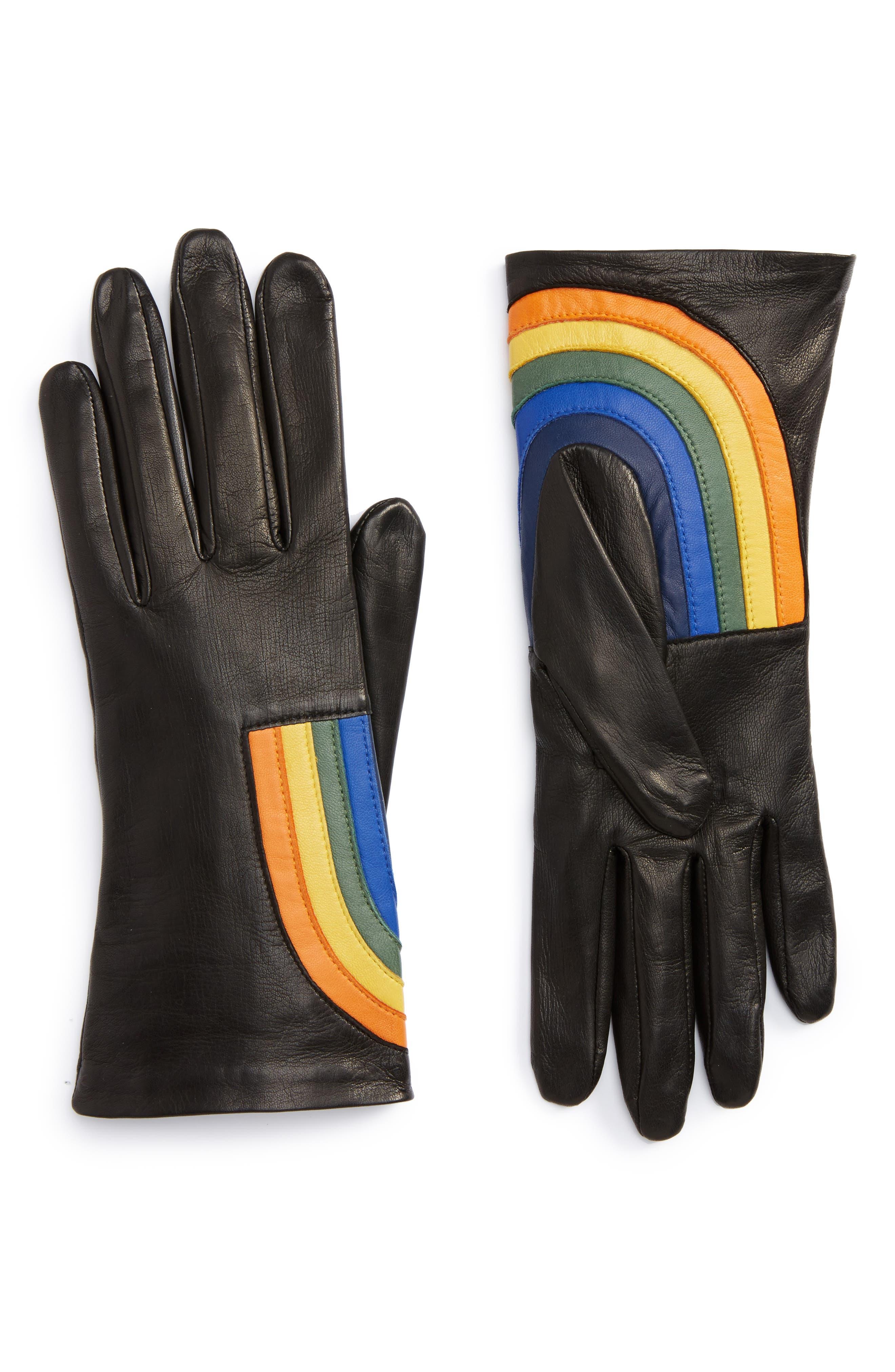 Rainbow Lambskin Leather Gloves,                         Main,                         color, Noir Multi