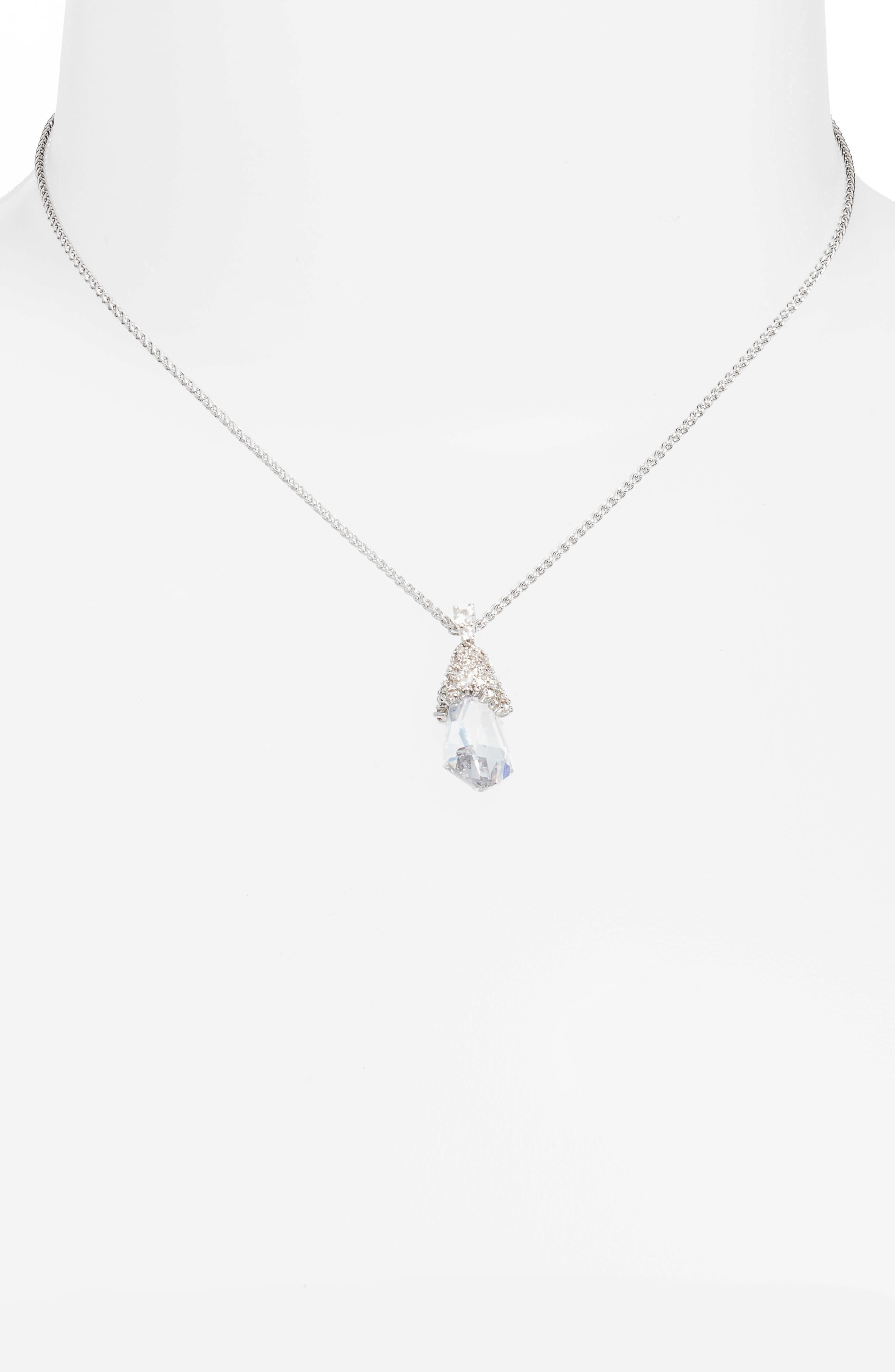 Ella Convertible Teardrop Pendant Necklace,                             Alternate thumbnail 3, color,                             Silver