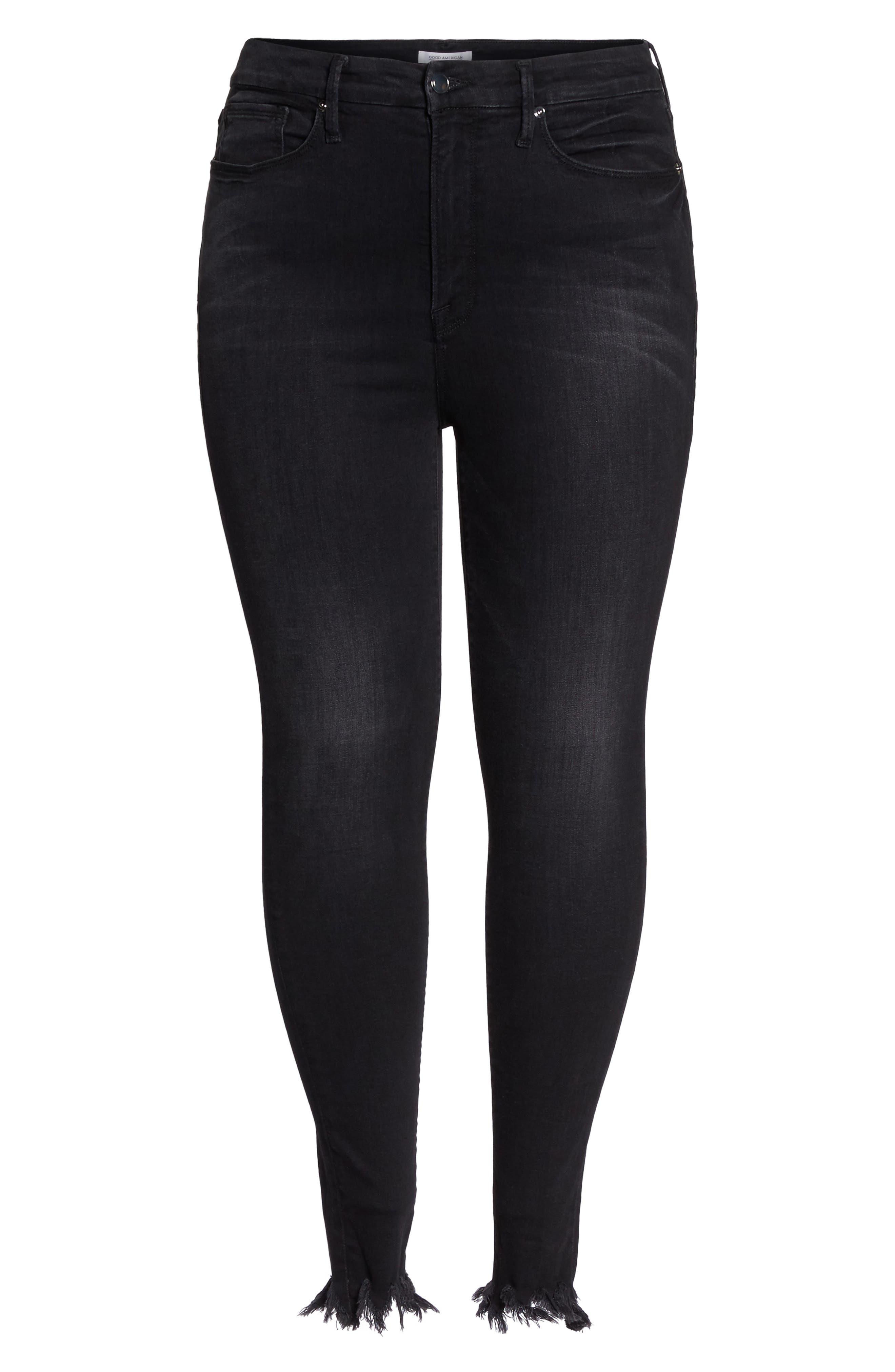 Alternate Image 9  - Good American Good Waist Fray Hem Skinny Jeans (Black 012) (Extended Sizes)