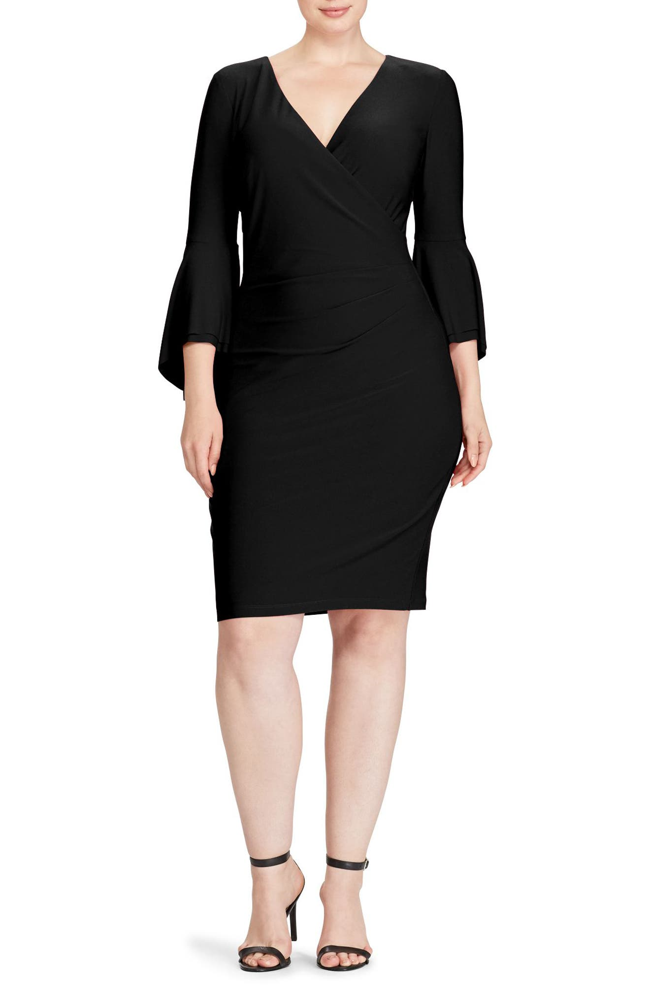 Lauren Ralph Lauren Bell Sleeve Faux Wrap Dress (Plus Size)