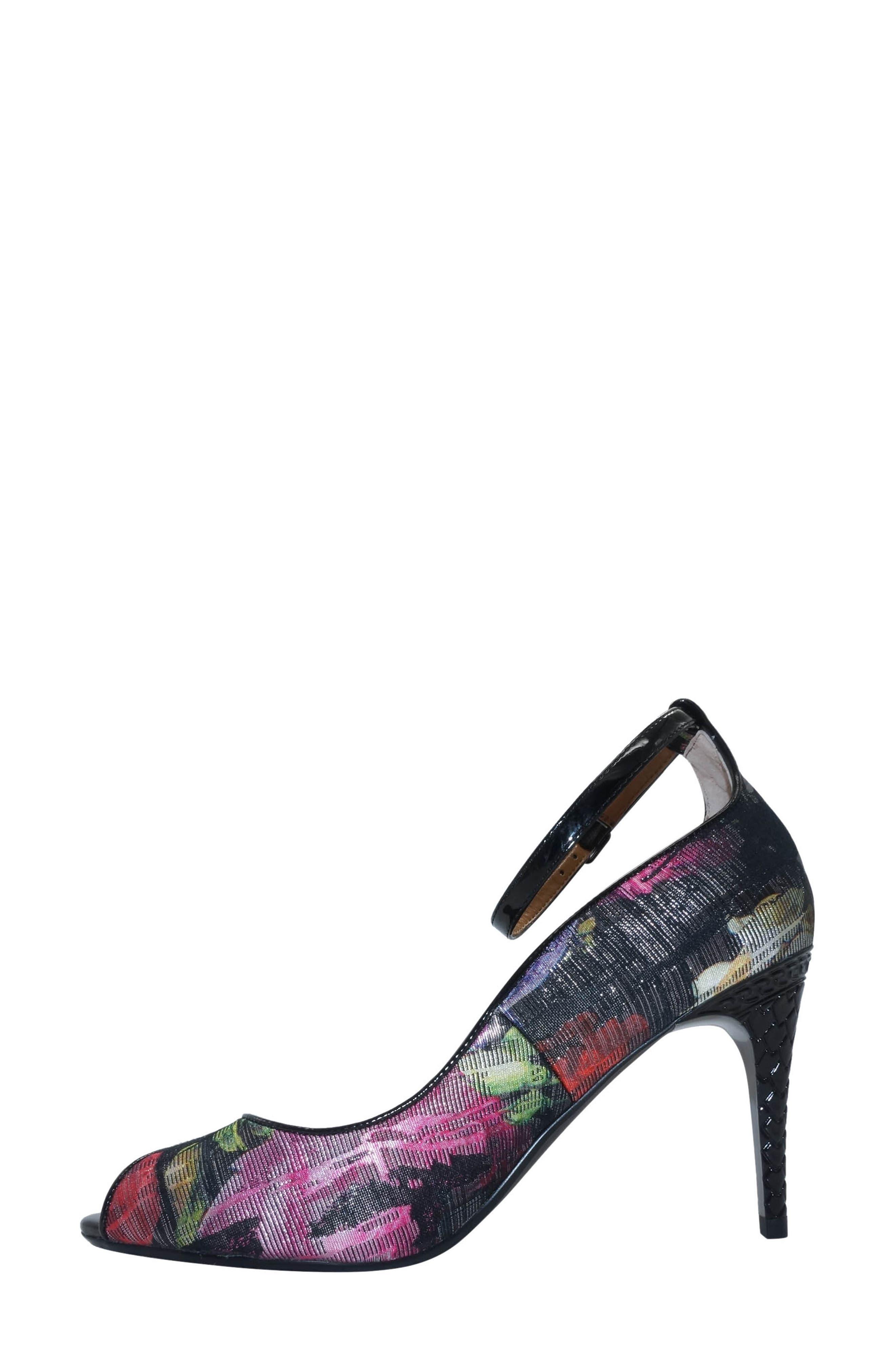 Raspalli Ankle Strap Peep Toe Pump,                             Alternate thumbnail 2, color,                             Red/ Black Multi