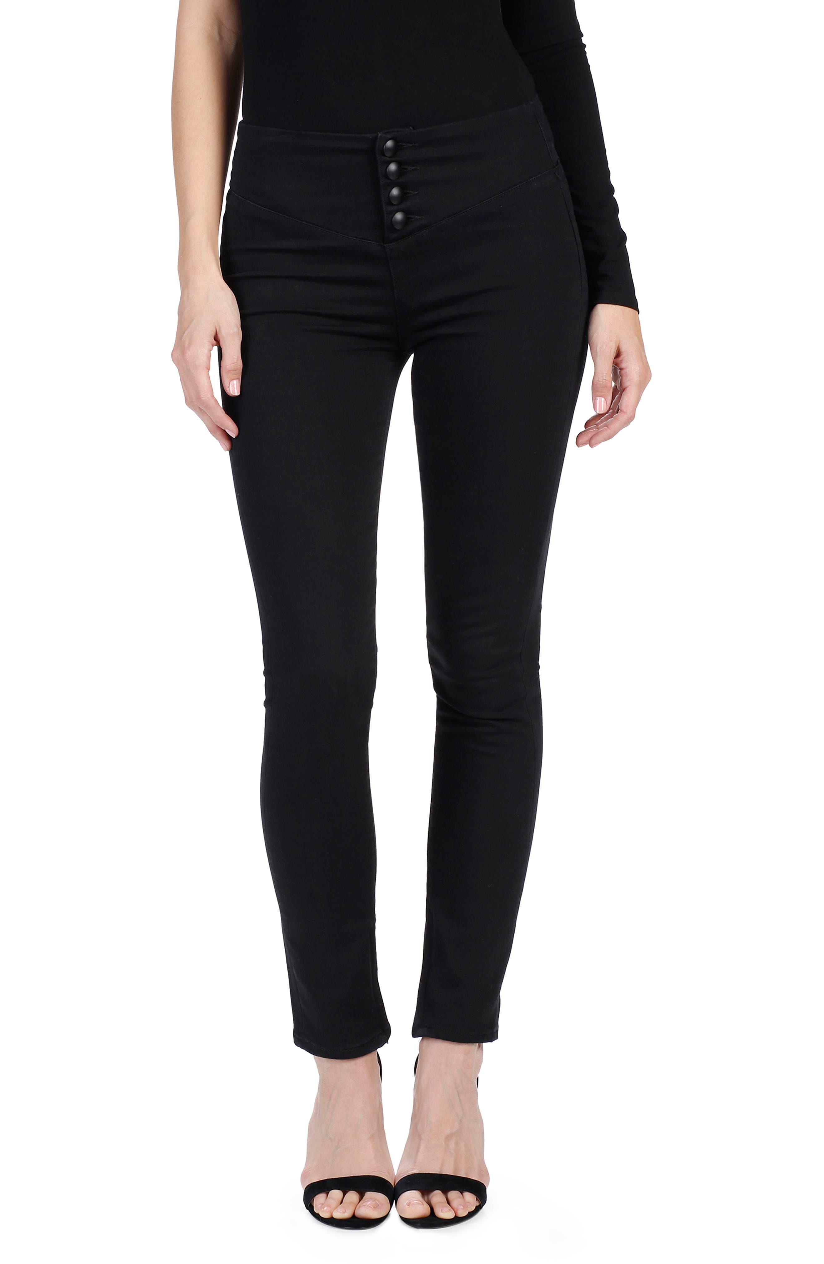 Rosie HW x PAIGE Ellery Skinny Jeans,                             Main thumbnail 1, color,                             Onyx