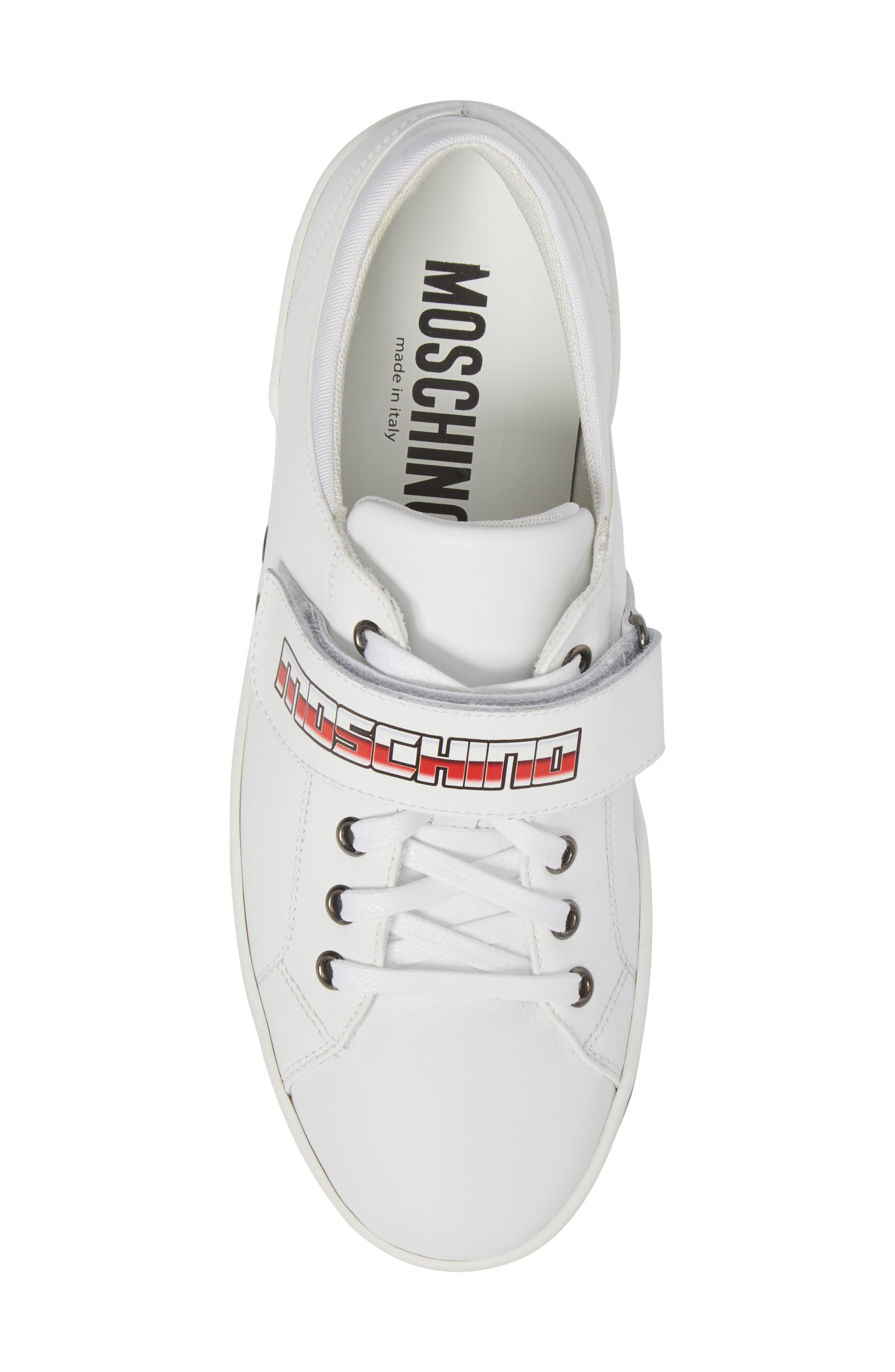 Strap Sneaker,                             Alternate thumbnail 5, color,                             White Leather