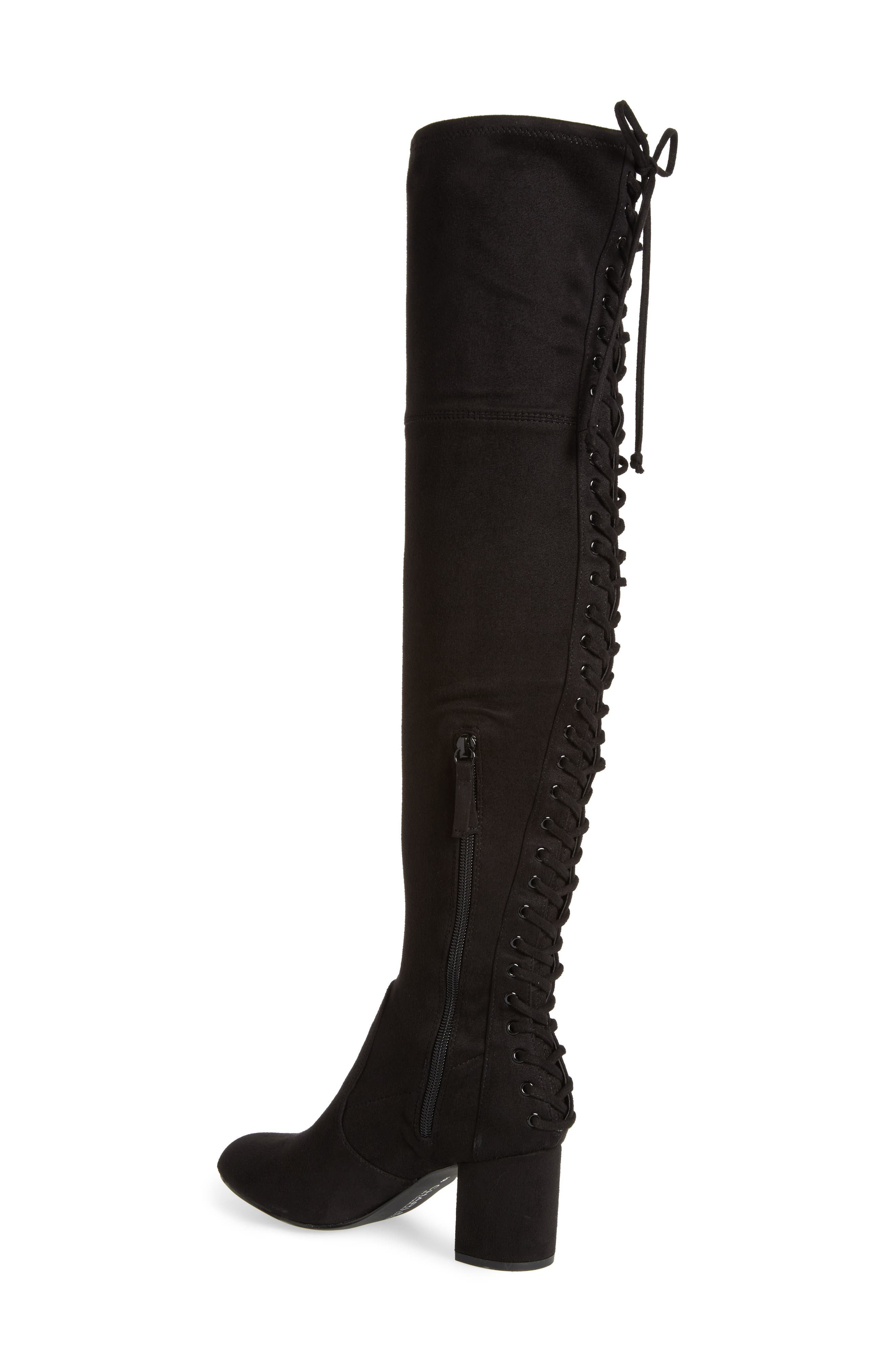 Ollie Over the Knee Boot,                             Alternate thumbnail 2, color,                             Black Microsuede