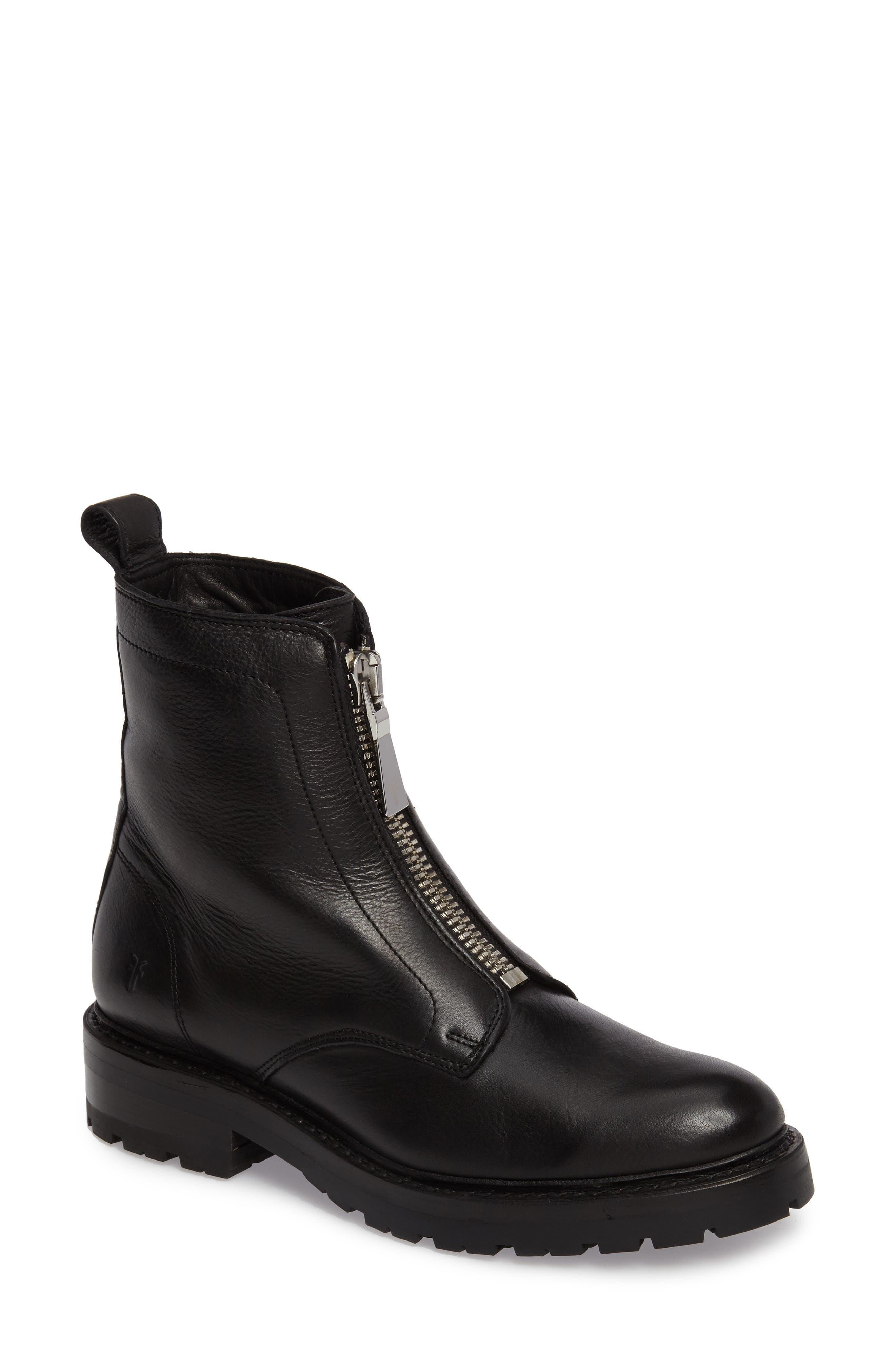 Julie Front Zip Combat Boot,                             Main thumbnail 1, color,                             Black