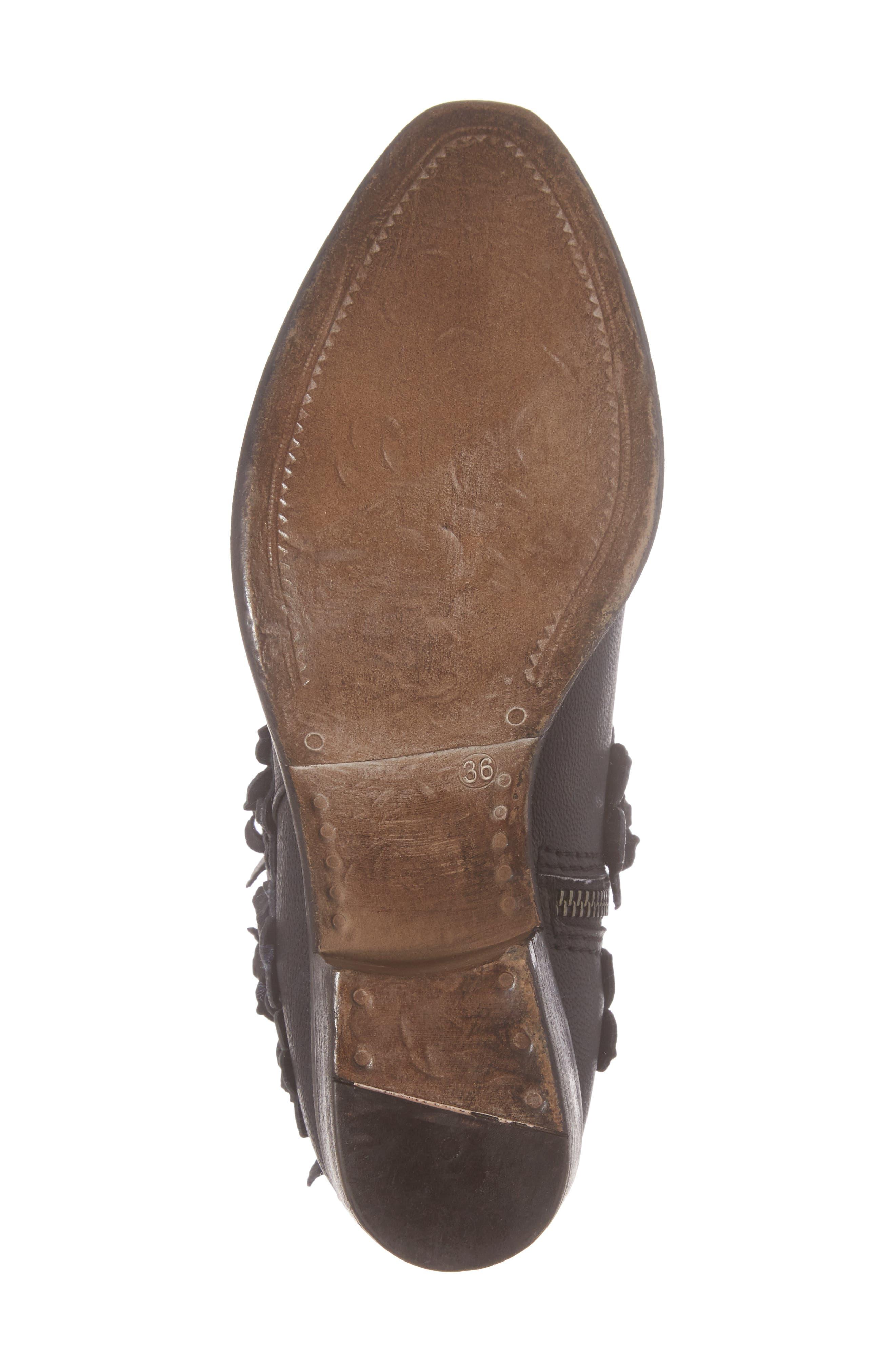 Saffron Bootie,                             Alternate thumbnail 6, color,                             Black Leather