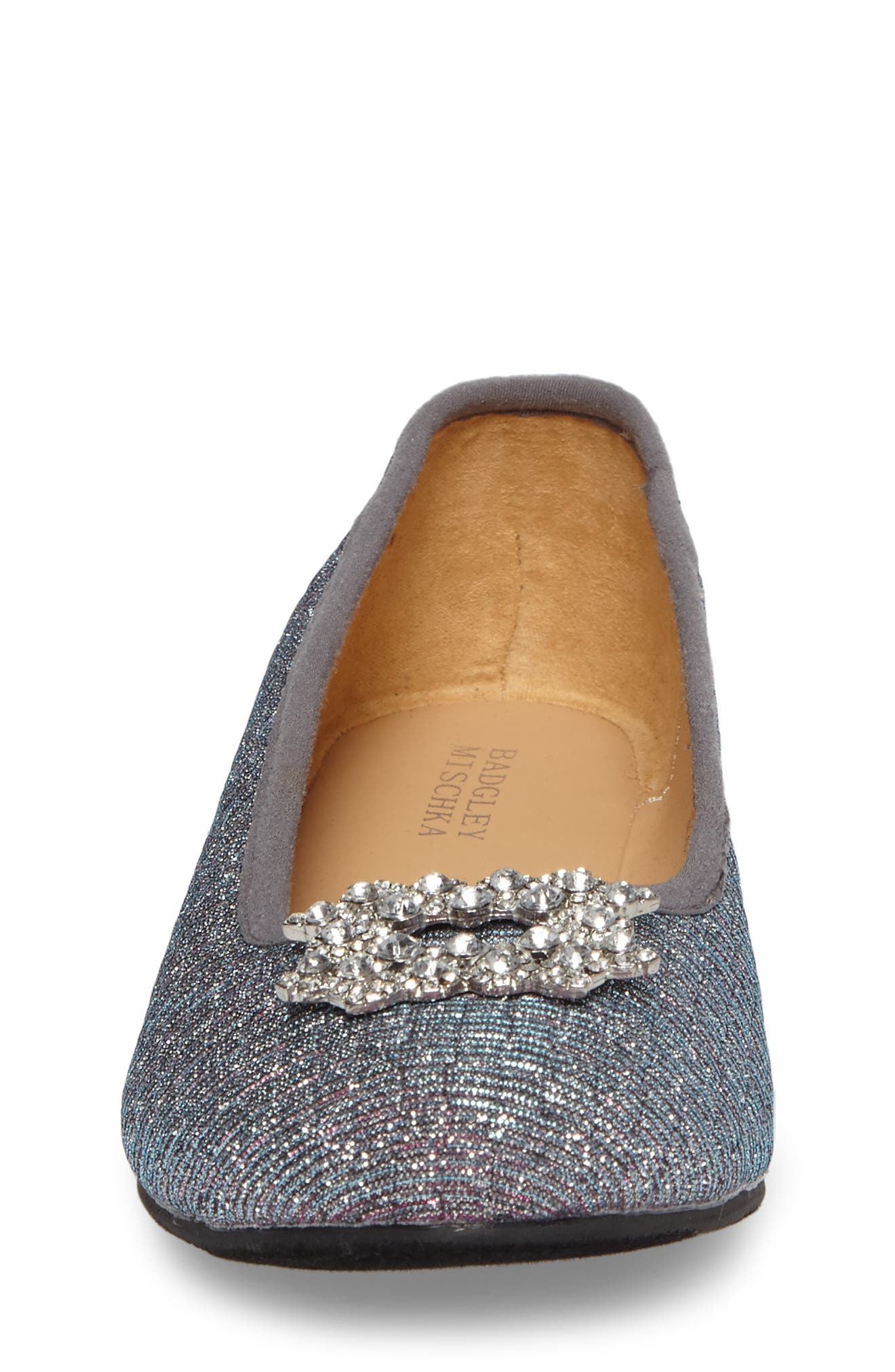 Alternate Image 4  - Badgley Mischka Amber Nidia Embellished Glitter Flat (Toddler, Little Kid & Big Kid)