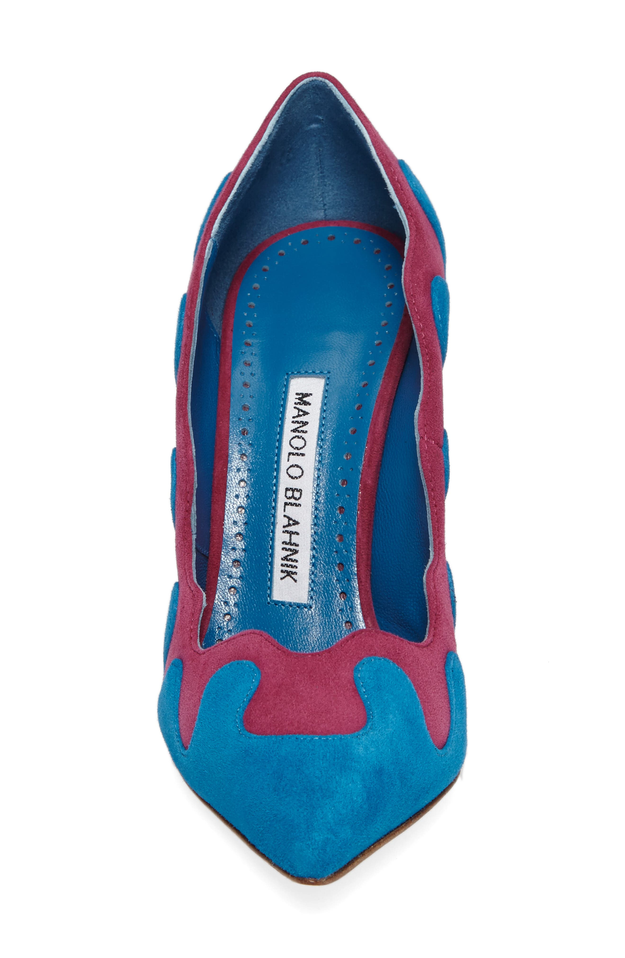 Ulderica Pointy Toe Pump,                             Alternate thumbnail 5, color,                             Turqouise Suede