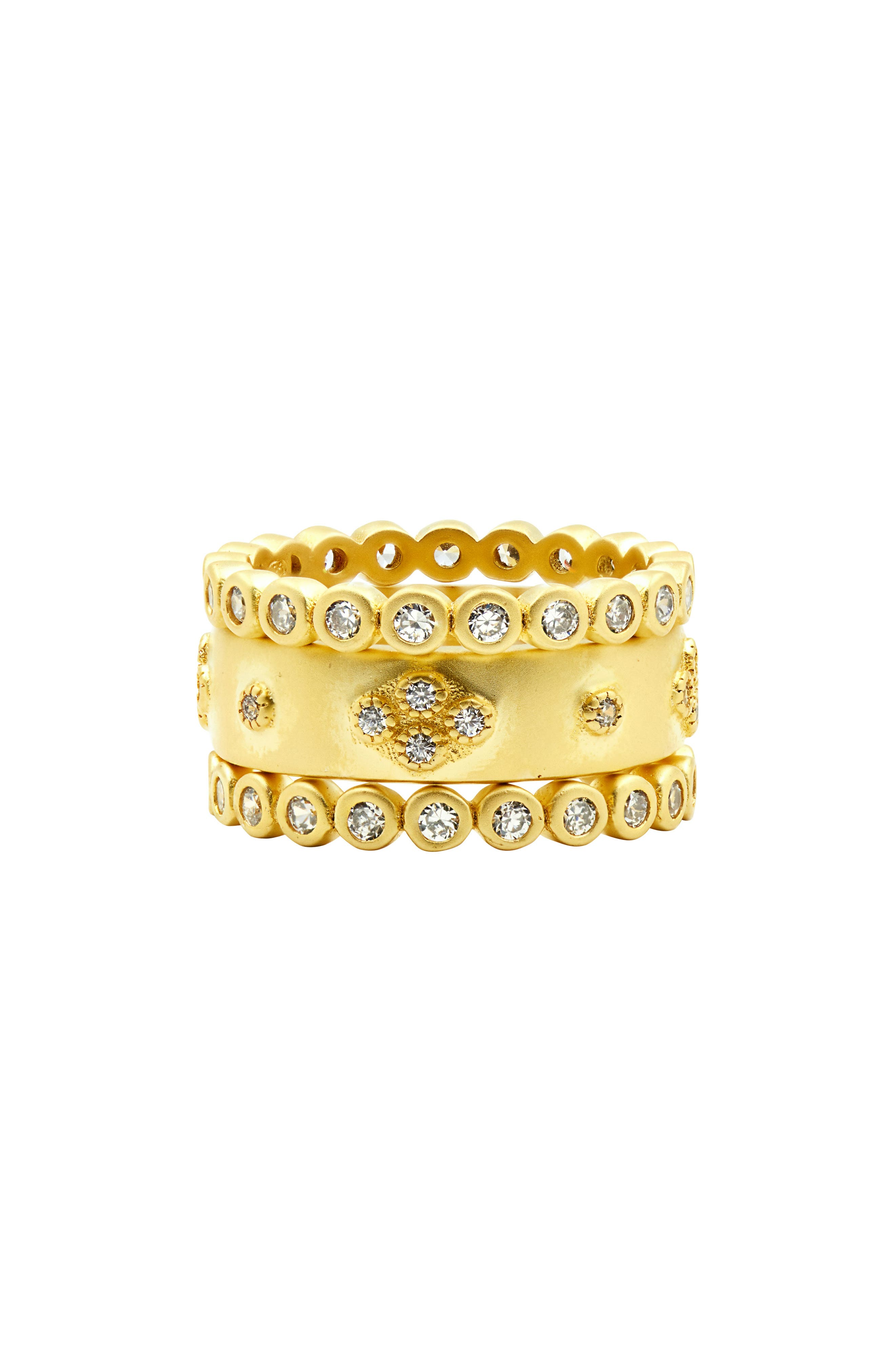 Audrey Set of 3 Cubic Zirconia Stacking Rings,                         Main,                         color, Gold/ Clear