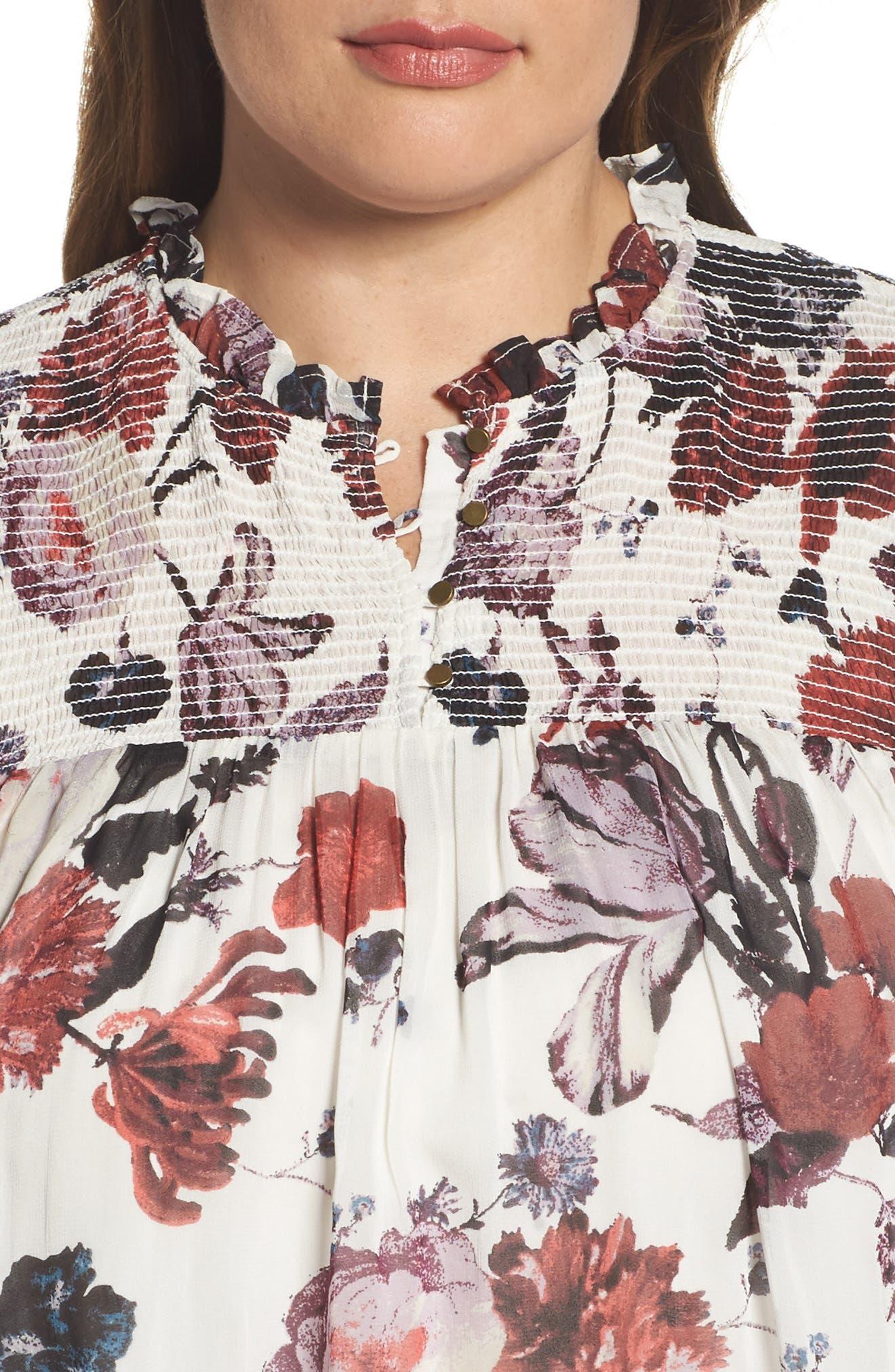 Alternate Image 4  - Lucky Brand Smock Yoke Floral Top (Plus Size)