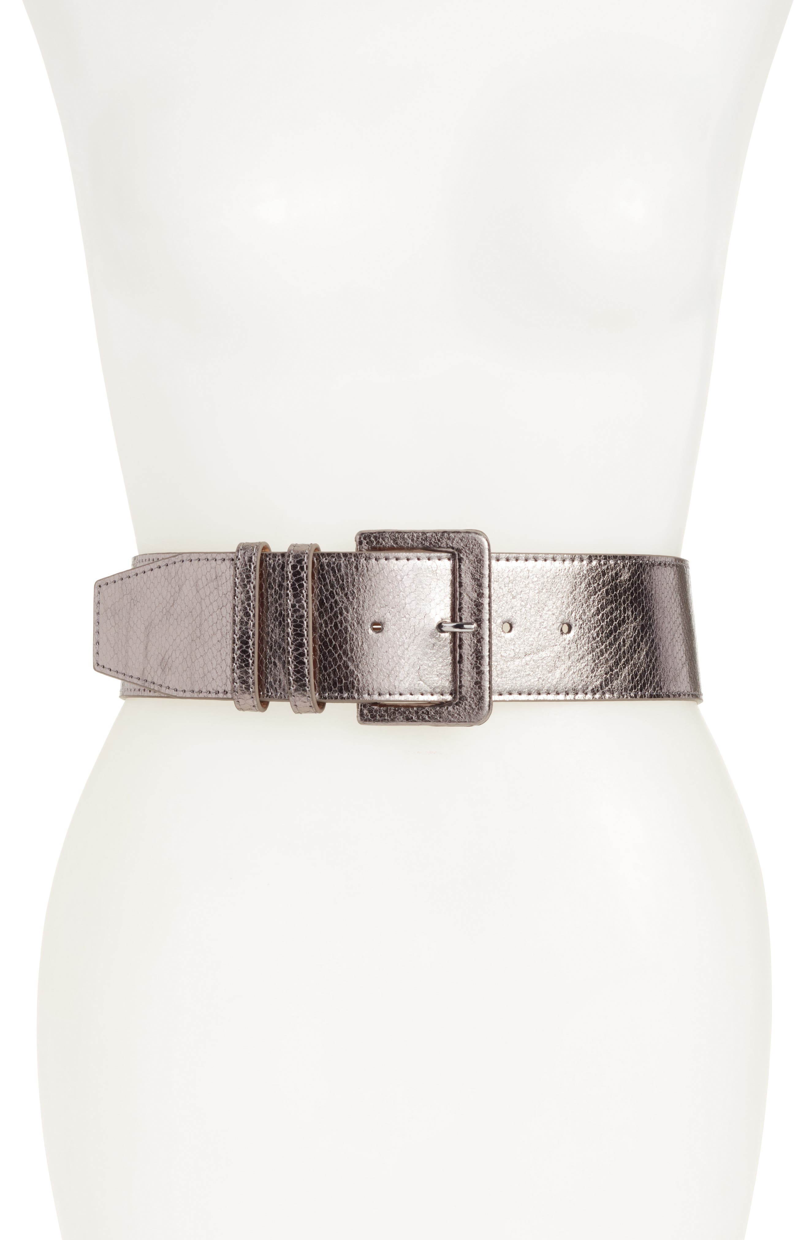 Exotic Snakeskin Embossed Stretch Belt,                             Main thumbnail 1, color,                             Pewter