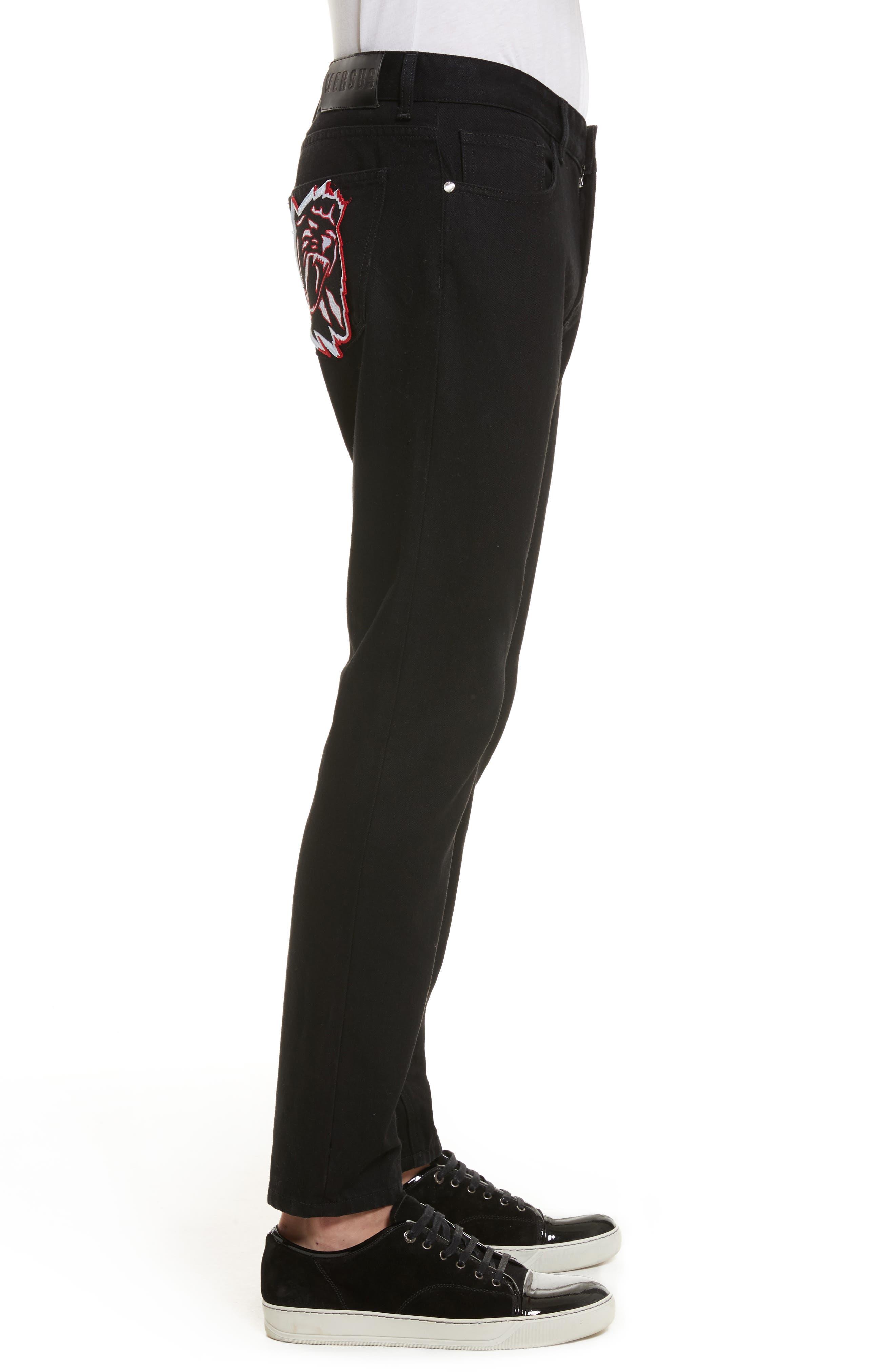 VERSUS by Versace Lion Slim Fit Jeans,                             Alternate thumbnail 3, color,                             Black