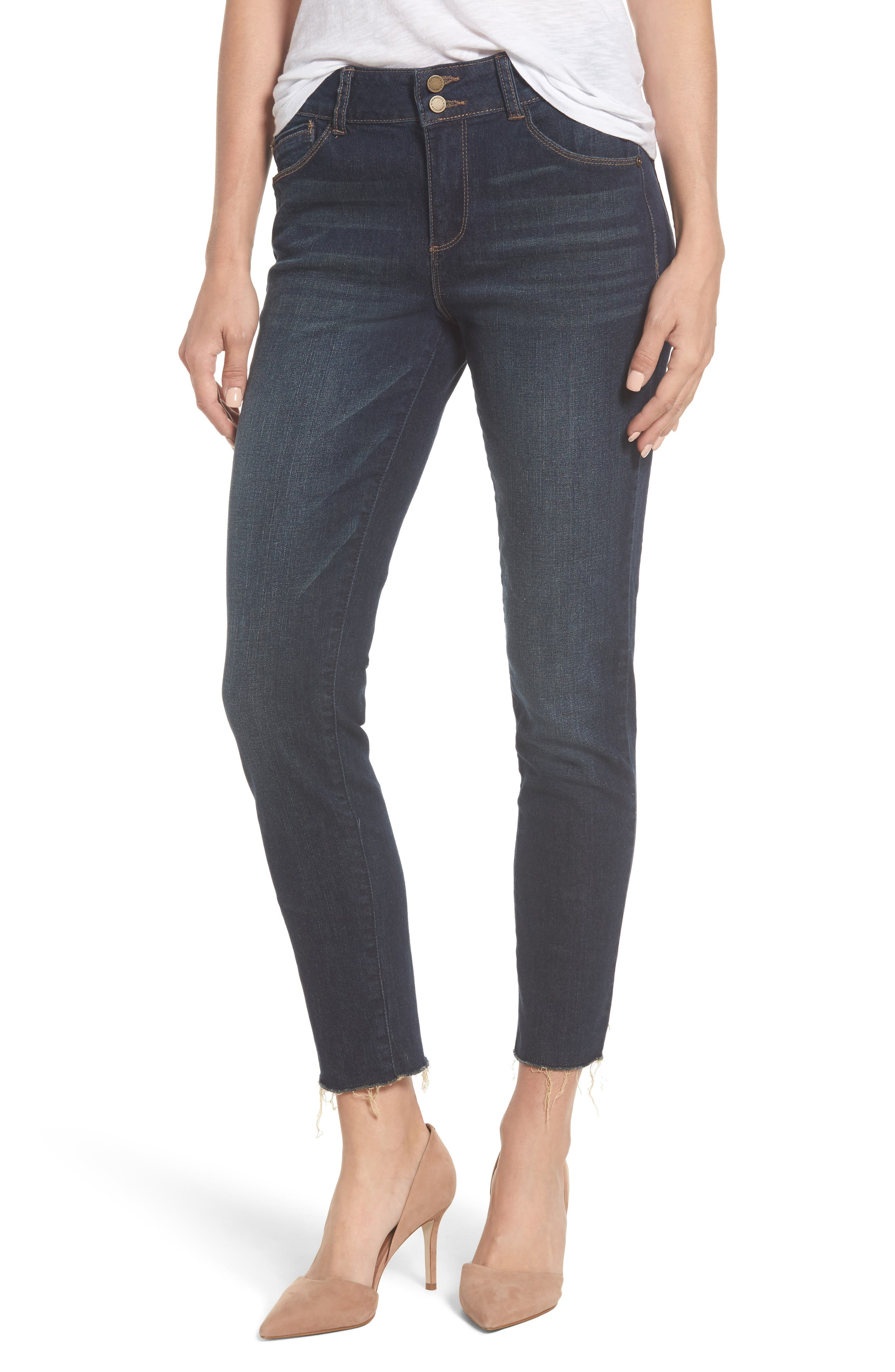 Two-Button High Waist Skinny Jeans,                             Main thumbnail 1, color,                             Indigo