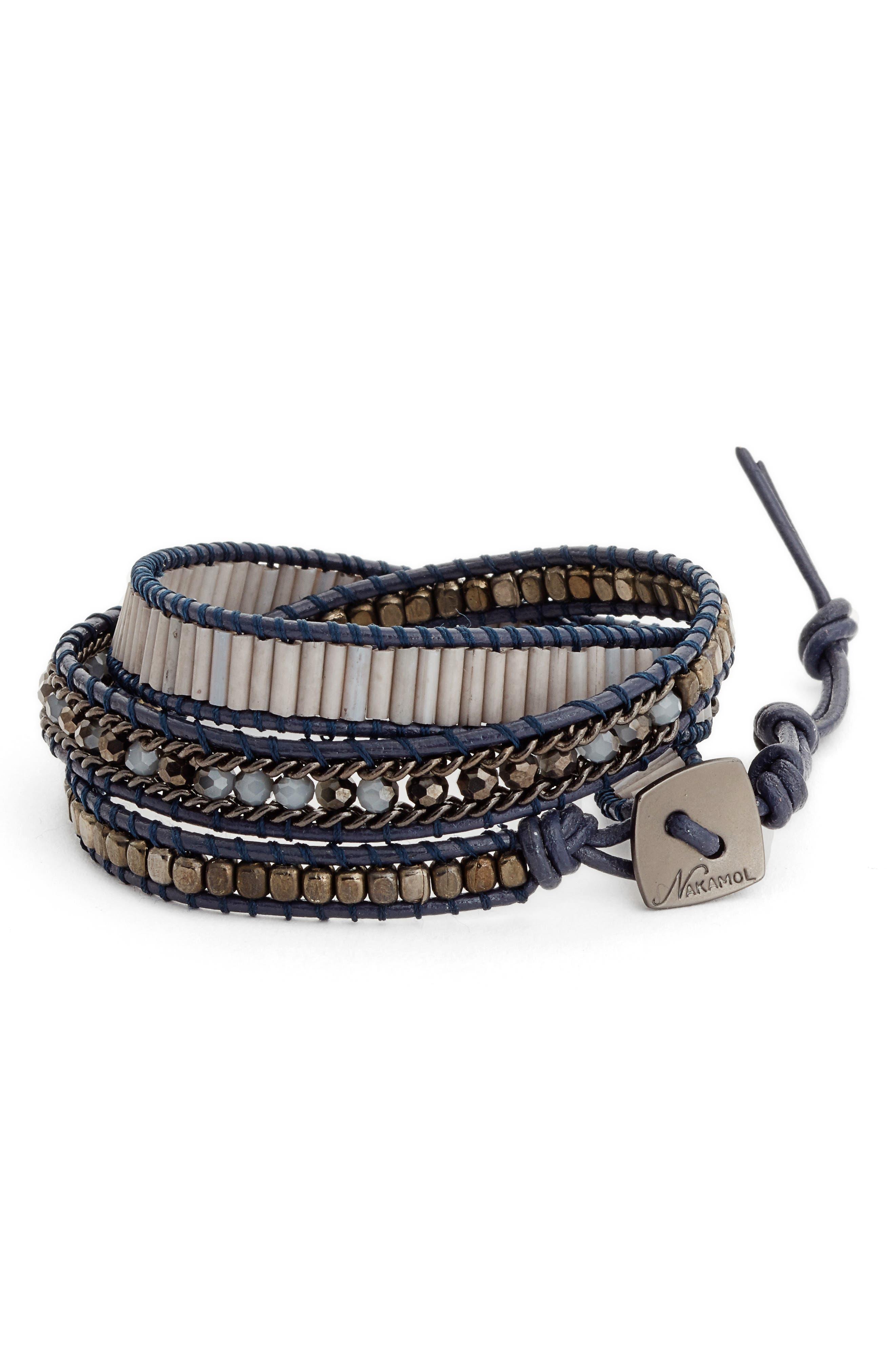 Leather & Crystal Wrap Bracelet,                         Main,                         color, Blue