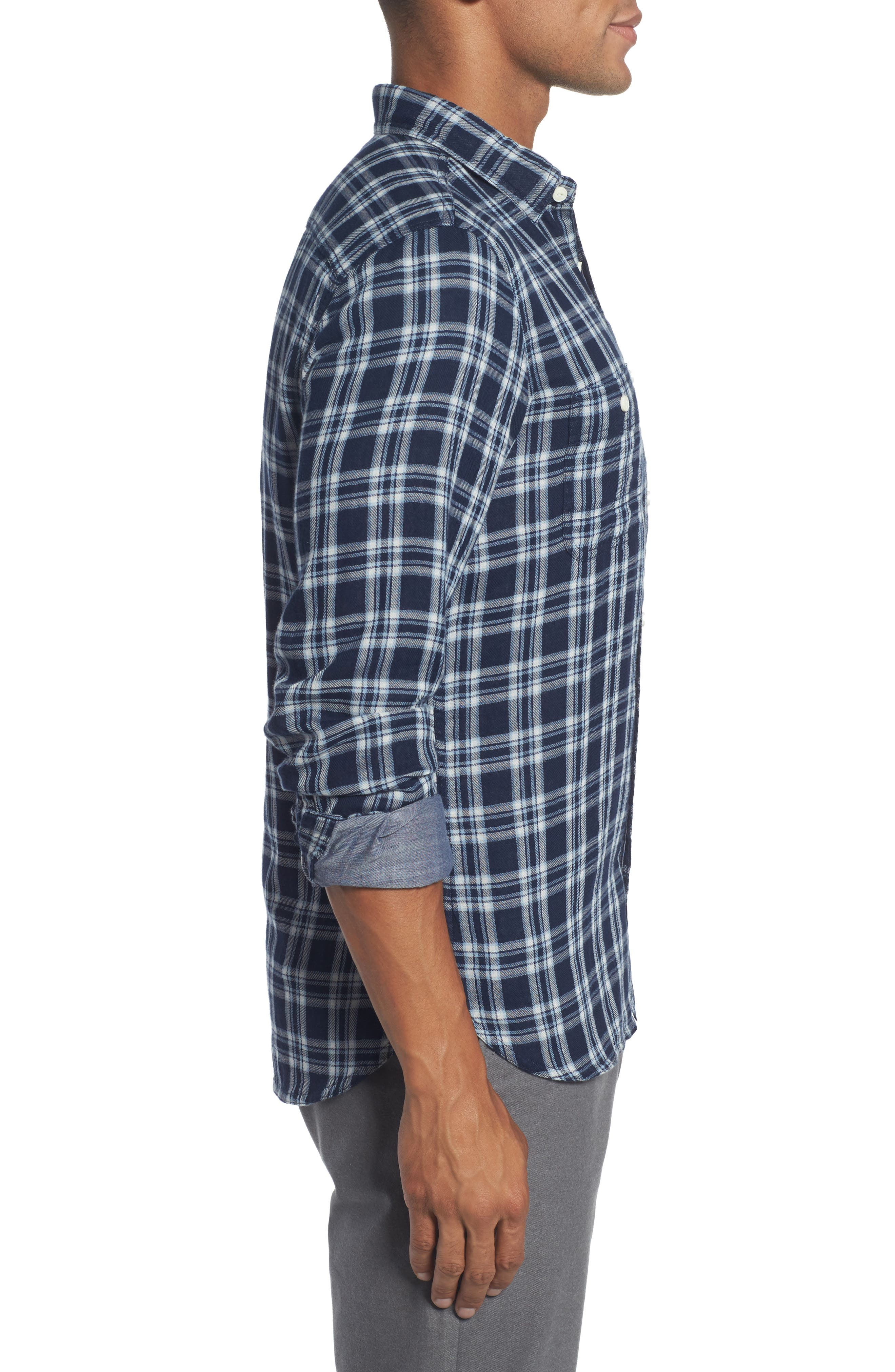 Trim Fit Workwear Duofold Check Sport Shirt,                             Alternate thumbnail 3, color,                             Navy White Chambray Duofold