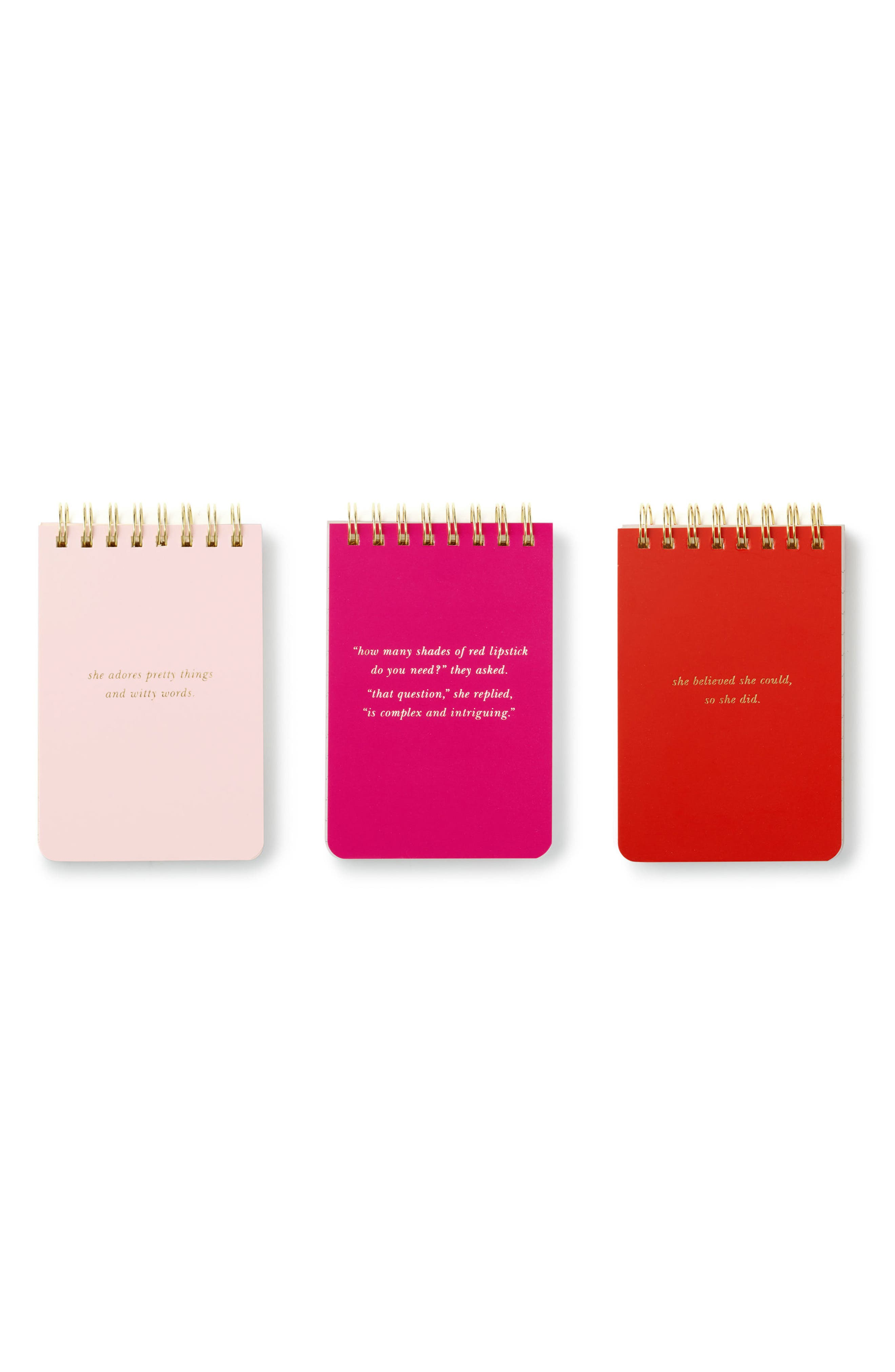 set of 3 spiral notebooks,                         Main,                         color, Pink