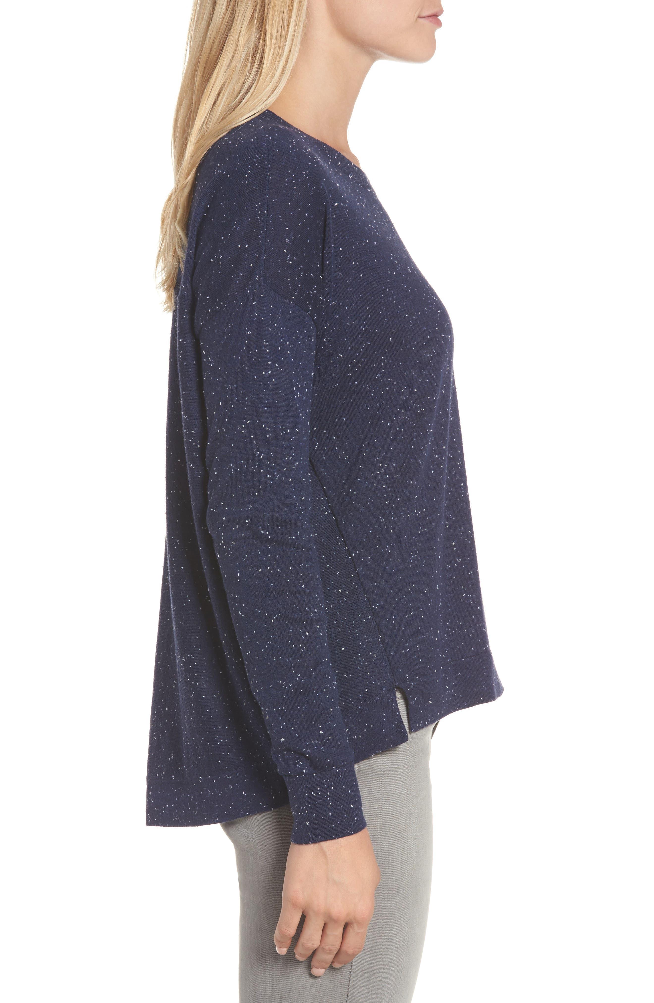 Alternate Image 3  - Caslon® Pleat Back High/Low Crewneck Sweater (Regular & Petite)