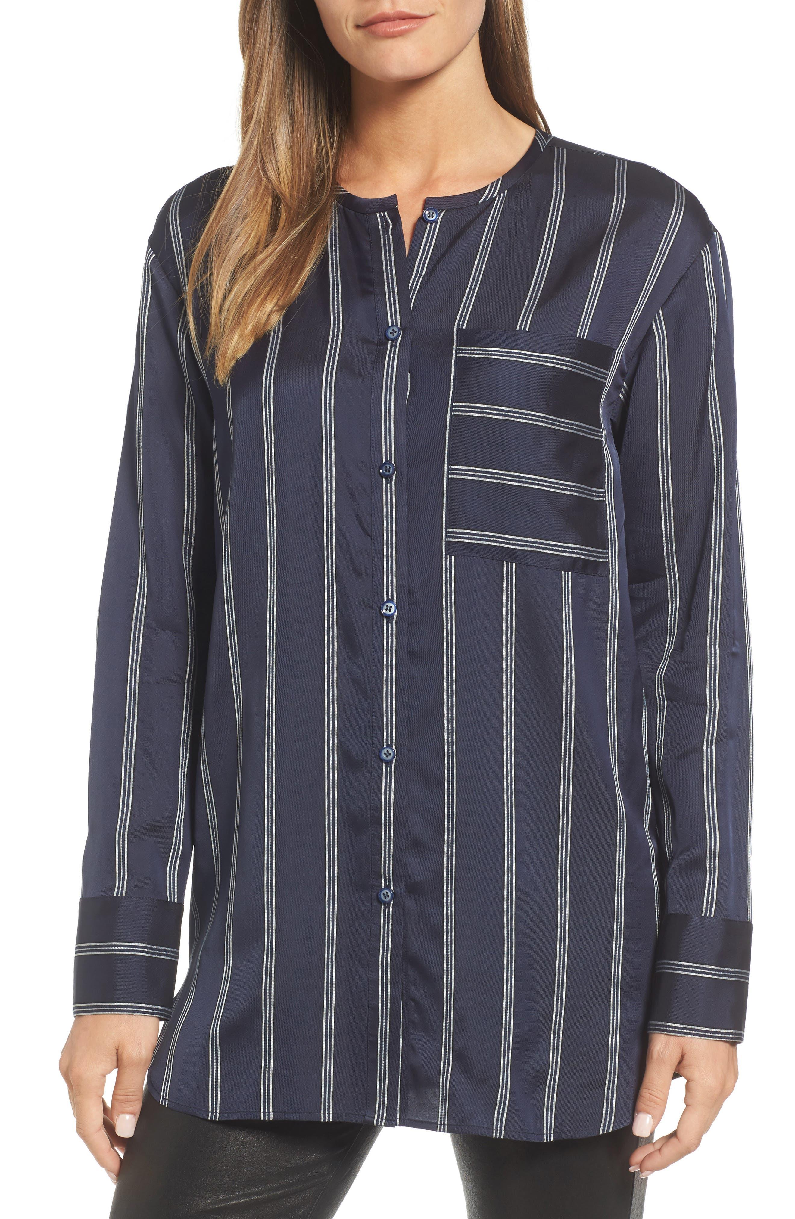 Striped Patch Pocket Shirt,                         Main,                         color, Navy- White Triple Stripe