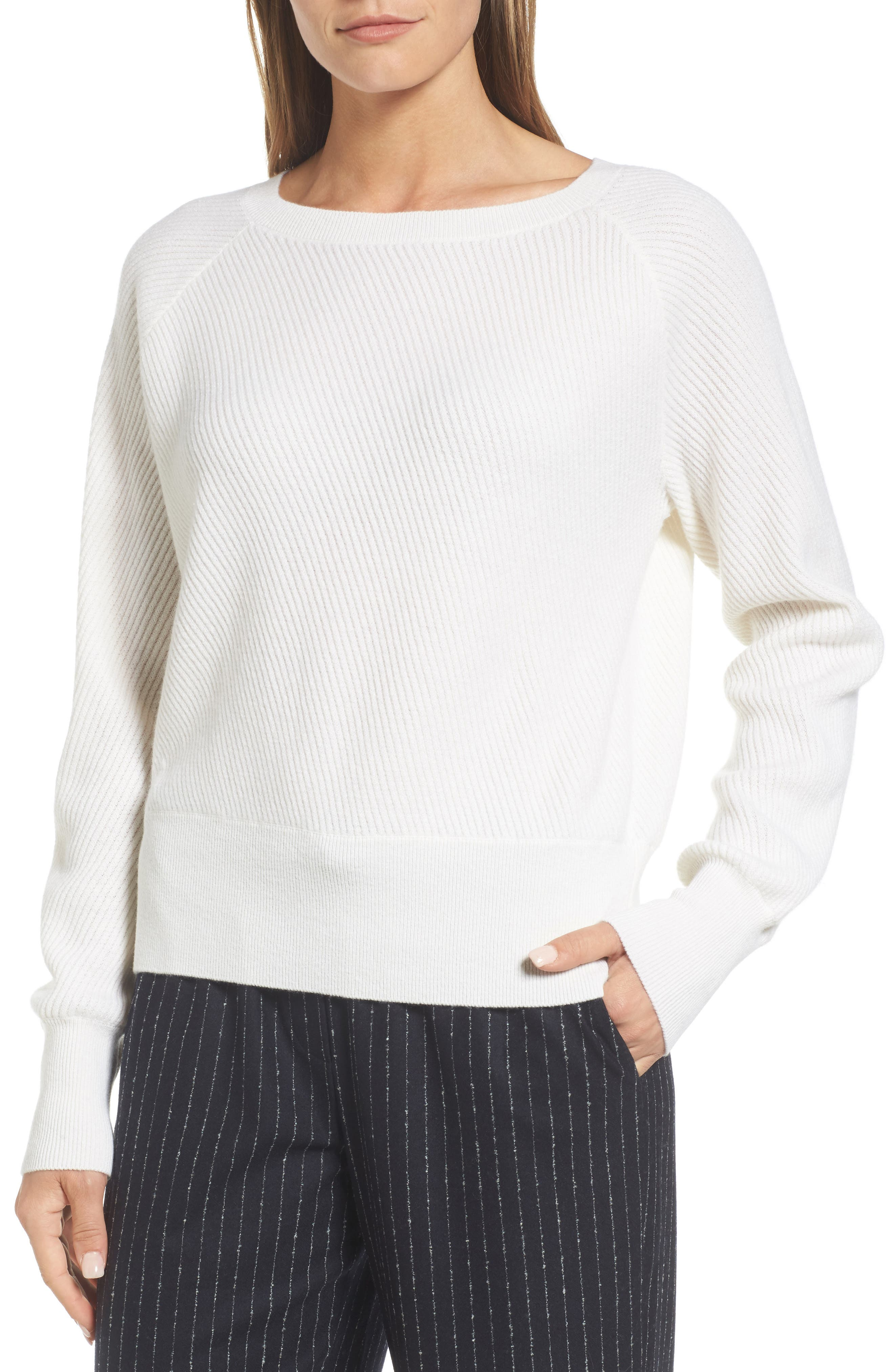 Diagonal Ribbed Cashmere Sweater,                             Main thumbnail 1, color,                             Ivory Soft