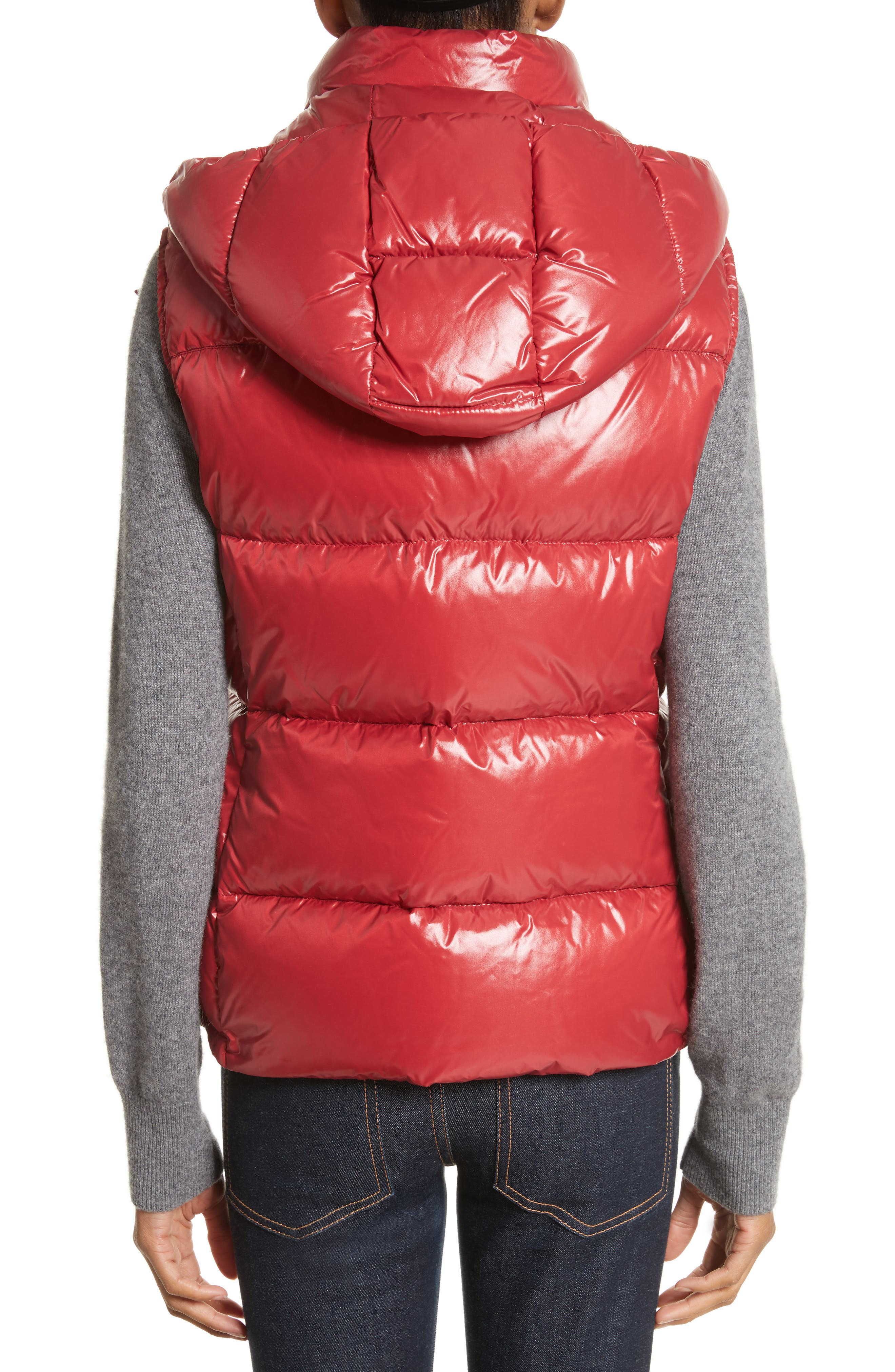 'Galene' Water Resistant Shiny Nylon Hooded Down Vest,                             Alternate thumbnail 2, color,                             Red