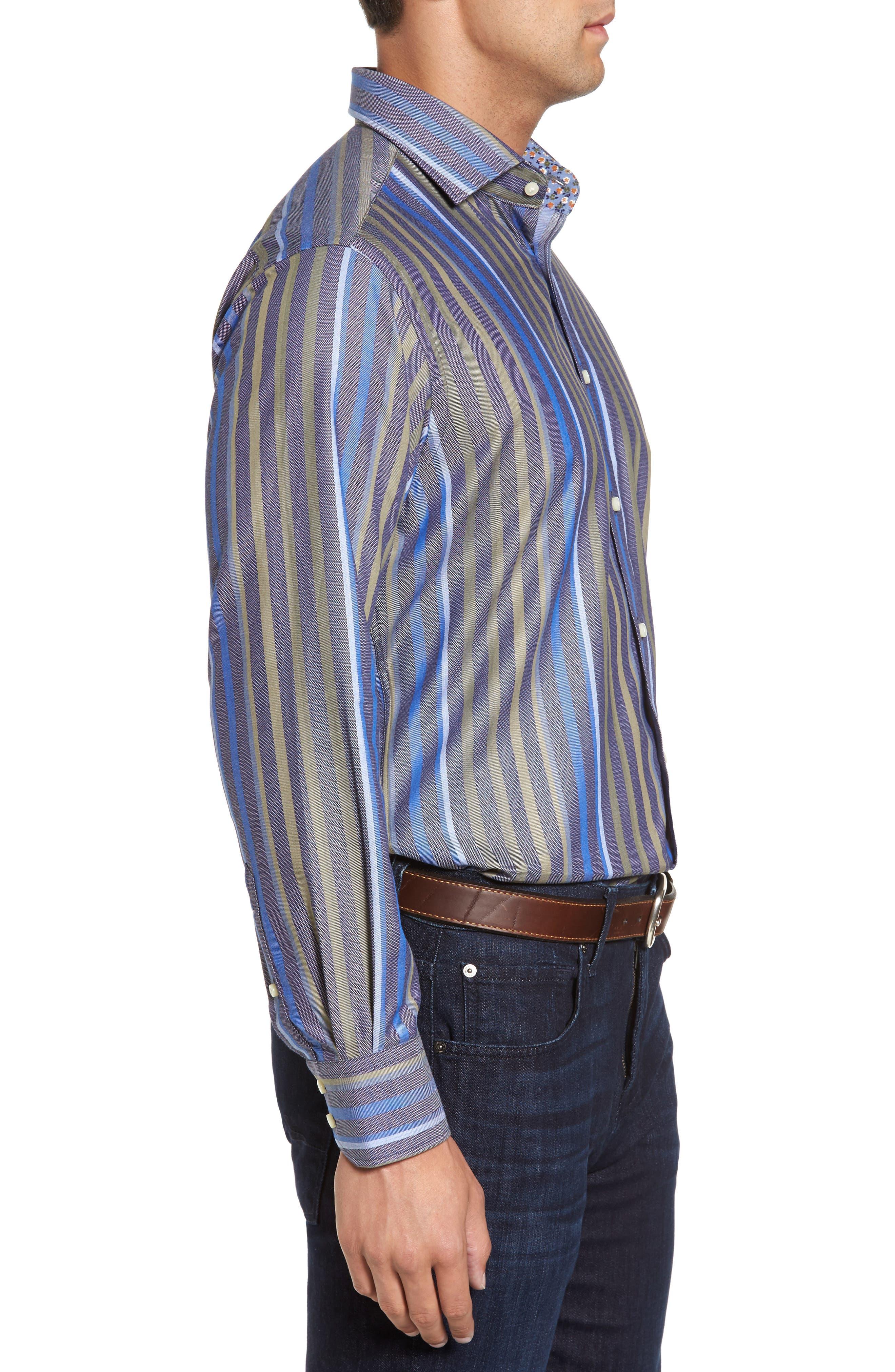 Alternate Image 3  - Thomas Dean Regular Fit Stripe Sport Shirt