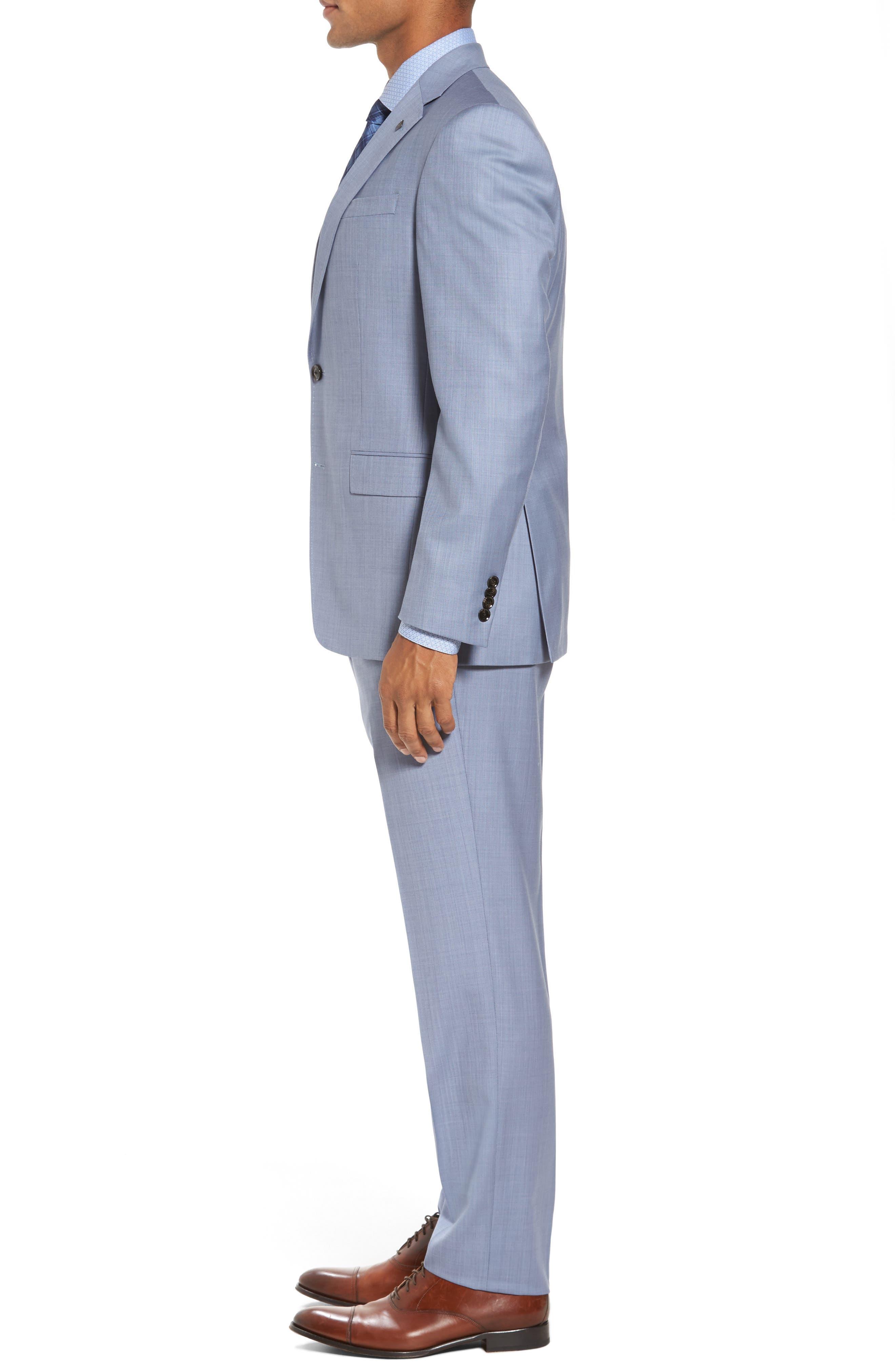 Trim Fit Solid Wool Suit,                             Alternate thumbnail 3, color,                             Light Blue