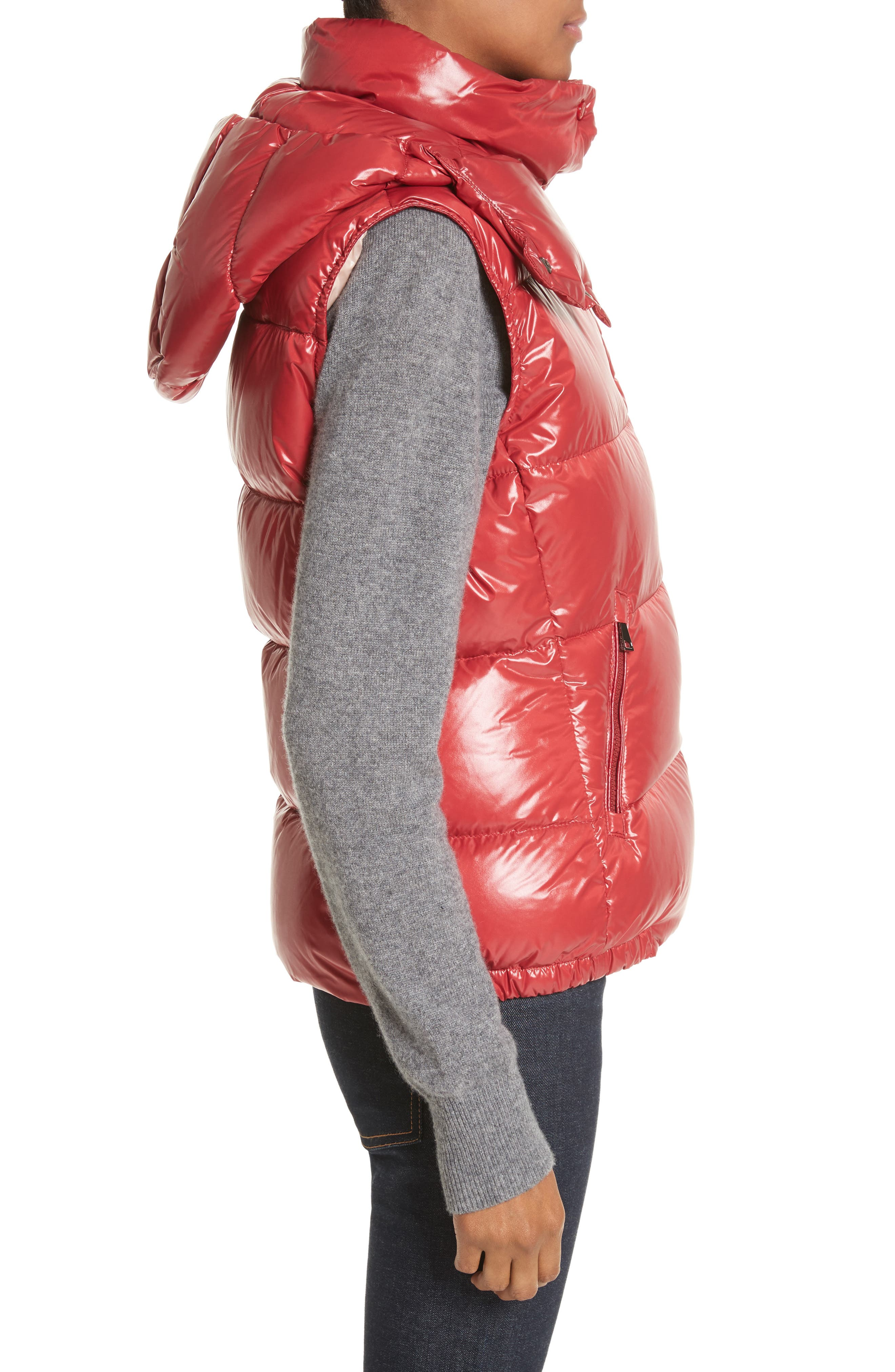 'Galene' Water Resistant Shiny Nylon Hooded Down Vest,                             Alternate thumbnail 3, color,                             Red