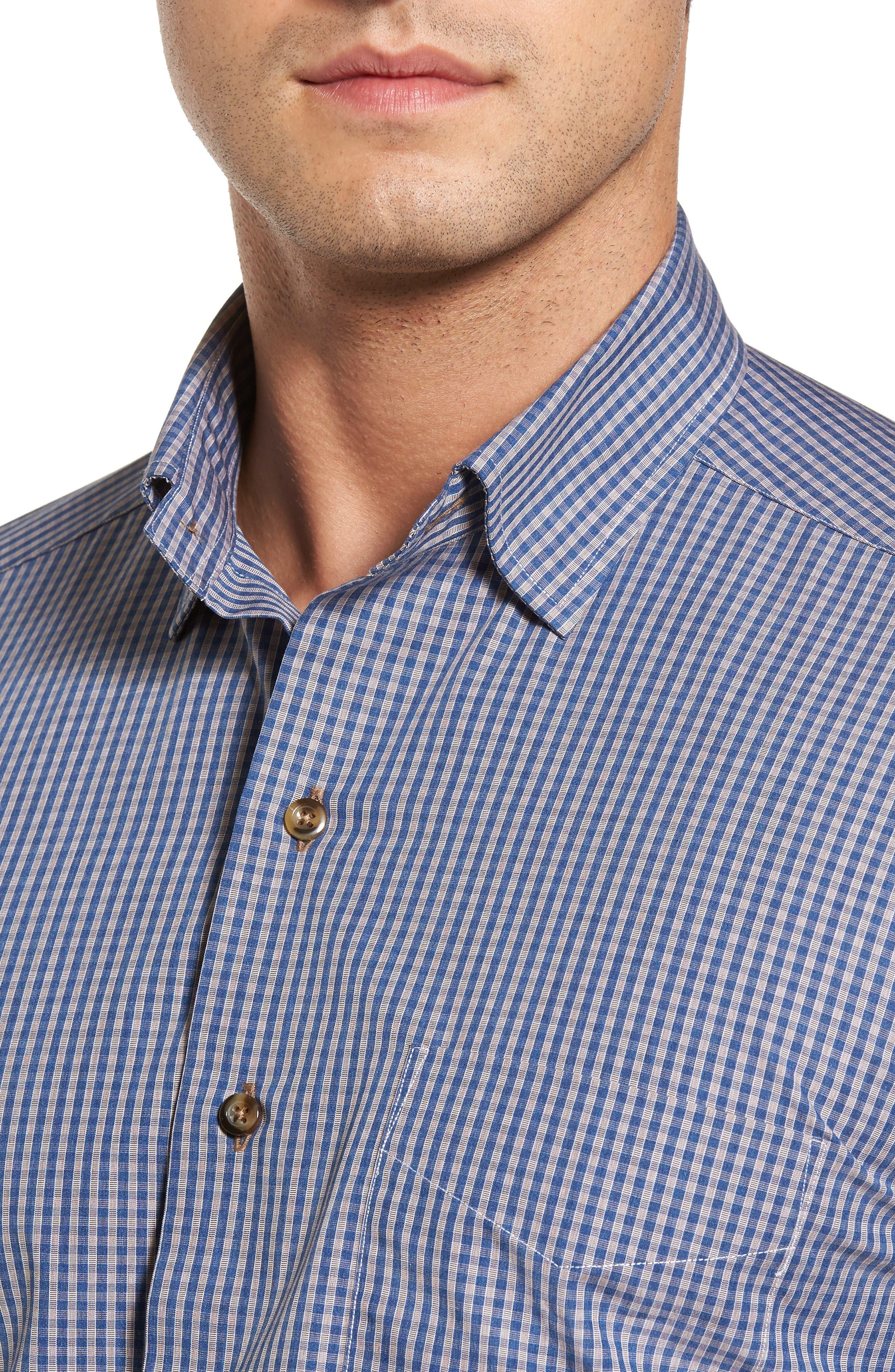 Regular Fit Check Sport Shirt,                             Alternate thumbnail 4, color,                             Navy/ Chocolate