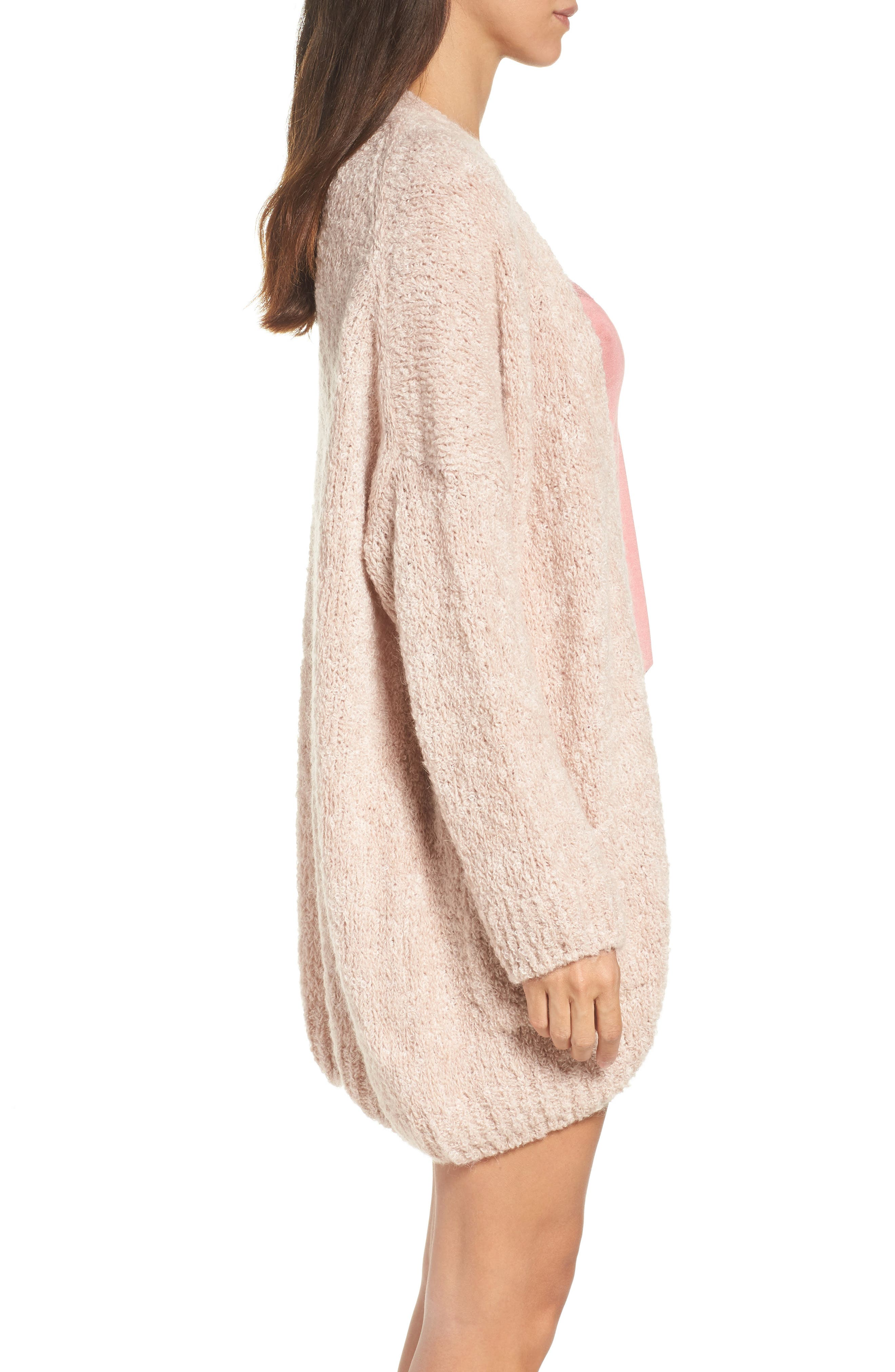 Lana Oversize Cardigan,                             Alternate thumbnail 3, color,                             Cameo Pink