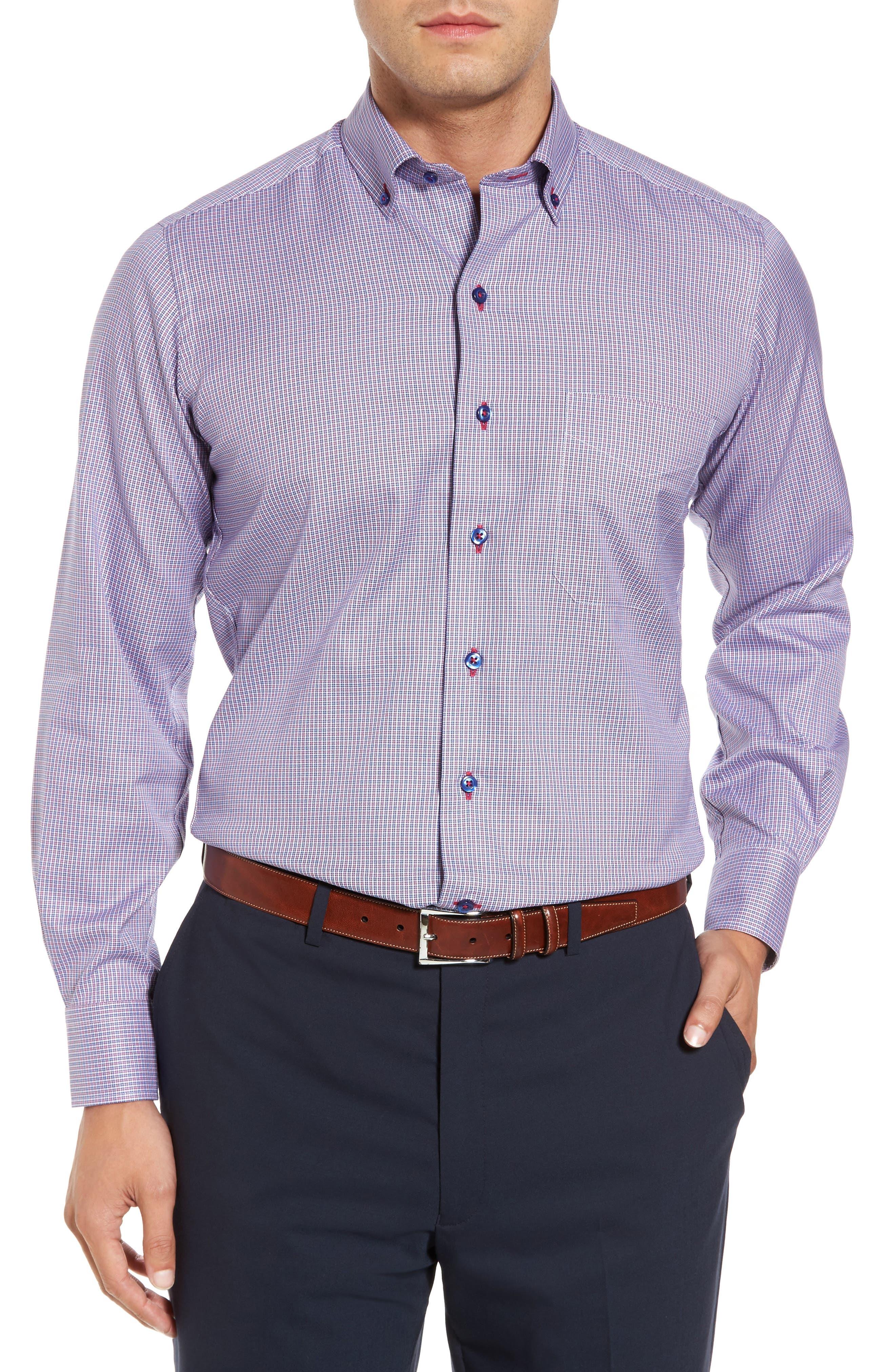 Regular Fit Plaid Sport Shirt,                         Main,                         color, Navy/ Red