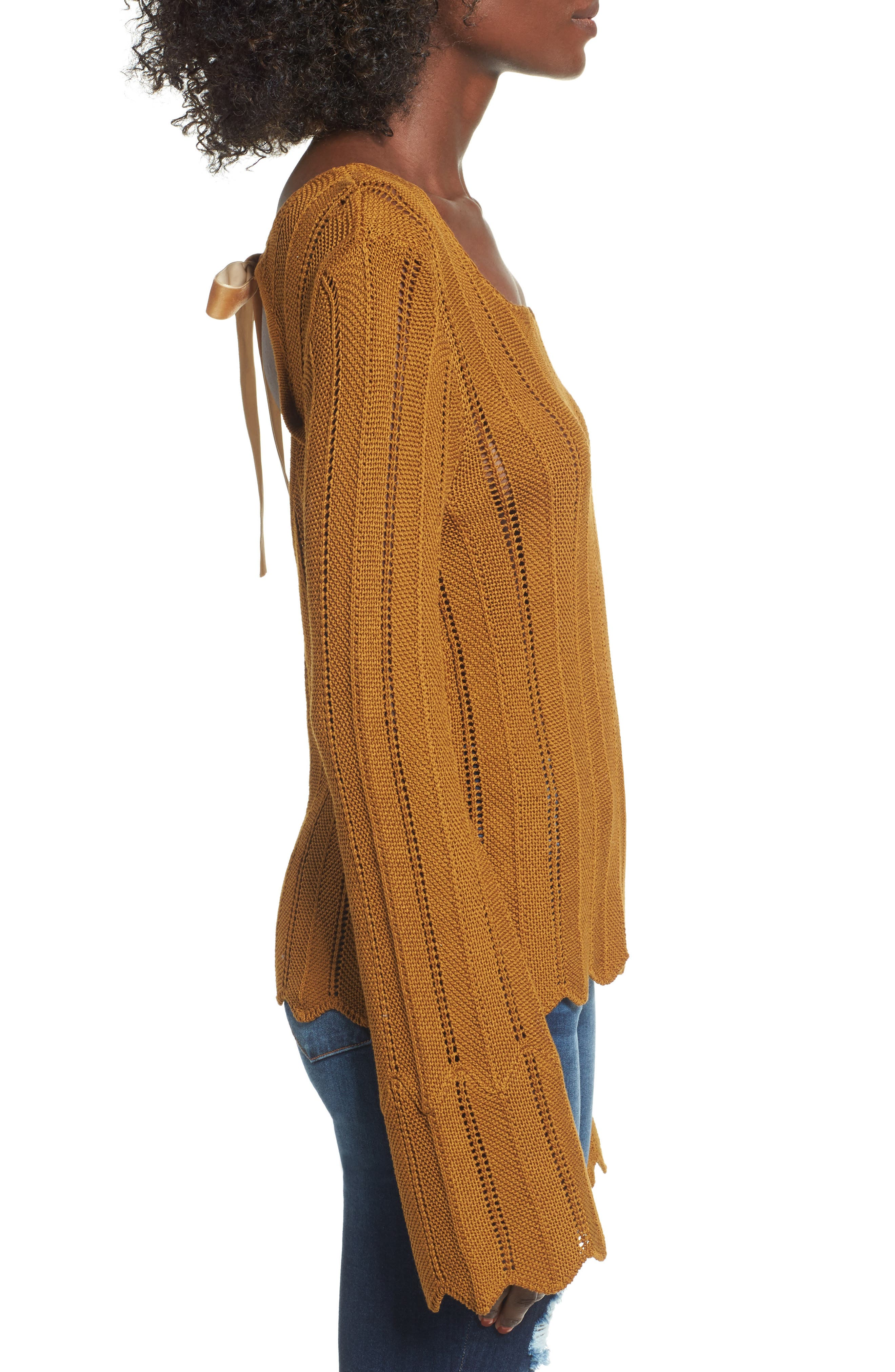 Robbie Tie Back Sweater,                             Alternate thumbnail 3, color,                             Rust