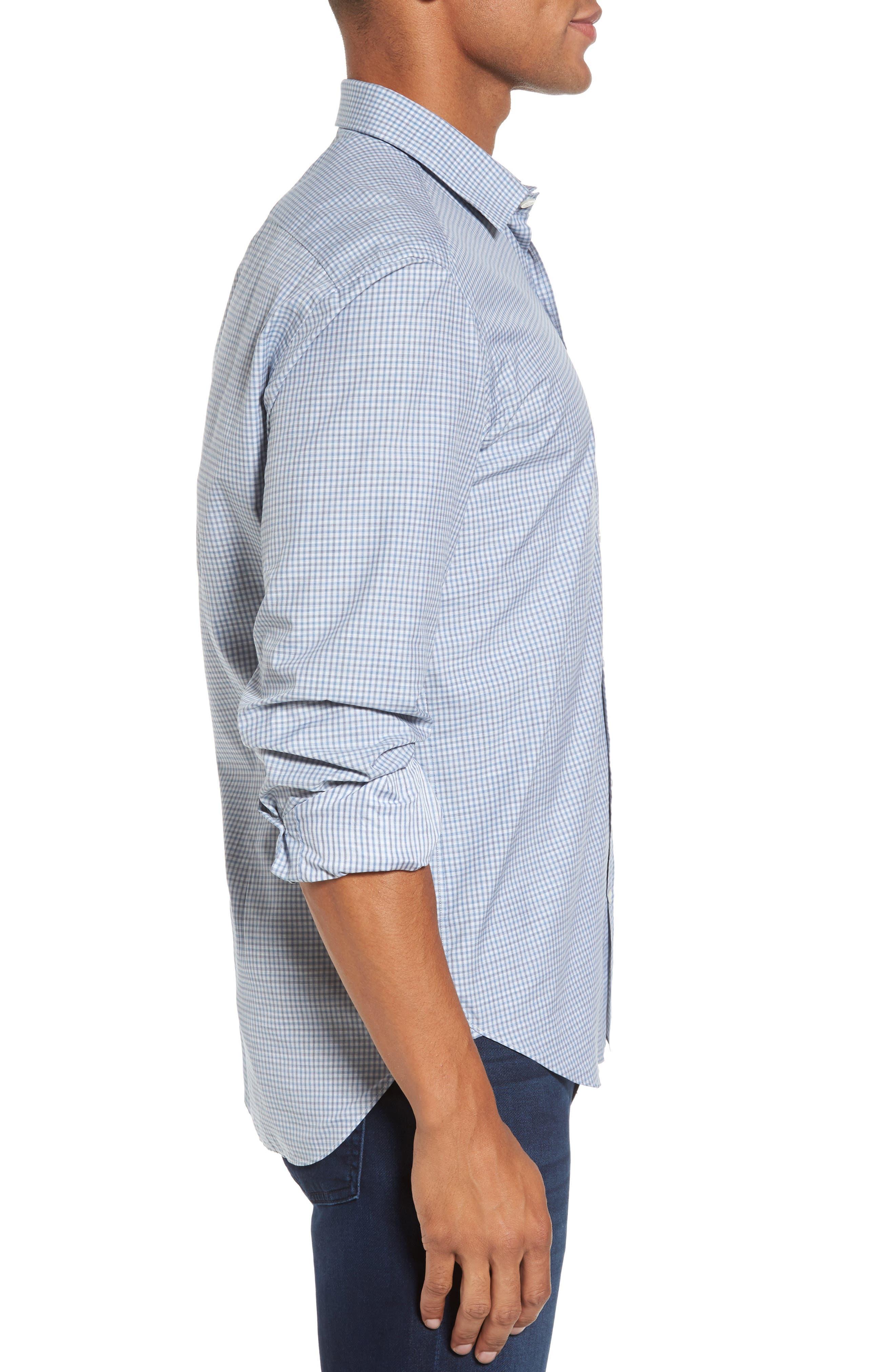 Slim Fit Plaid Sport Shirt,                             Alternate thumbnail 3, color,                             Blue