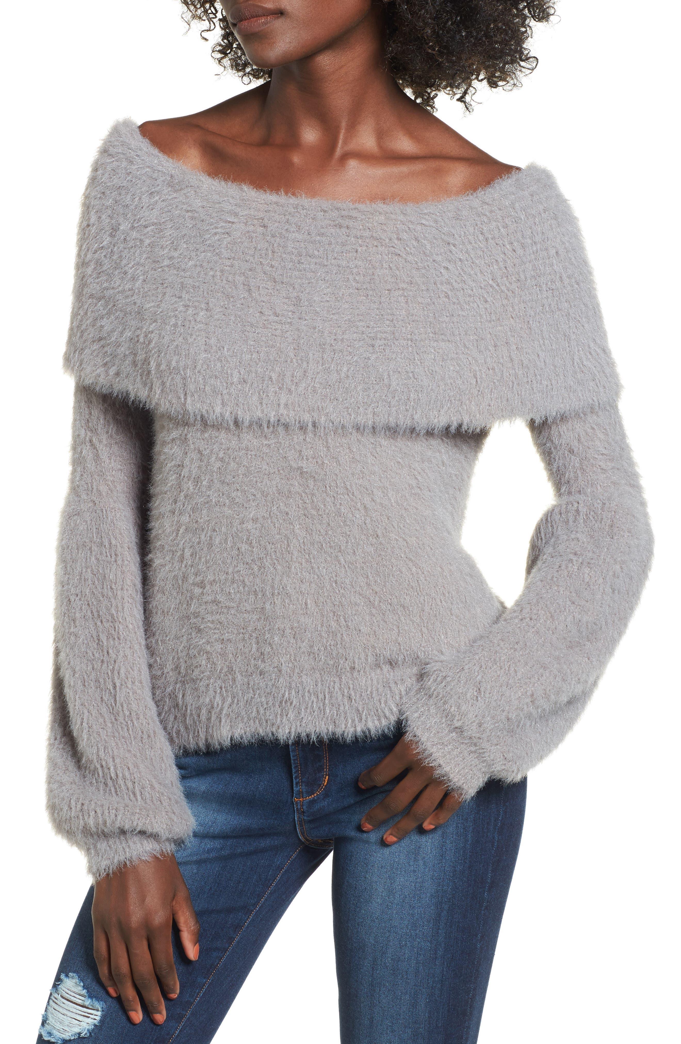 Off the Shoulder Sweater,                             Main thumbnail 1, color,                             Grey Cloudburst