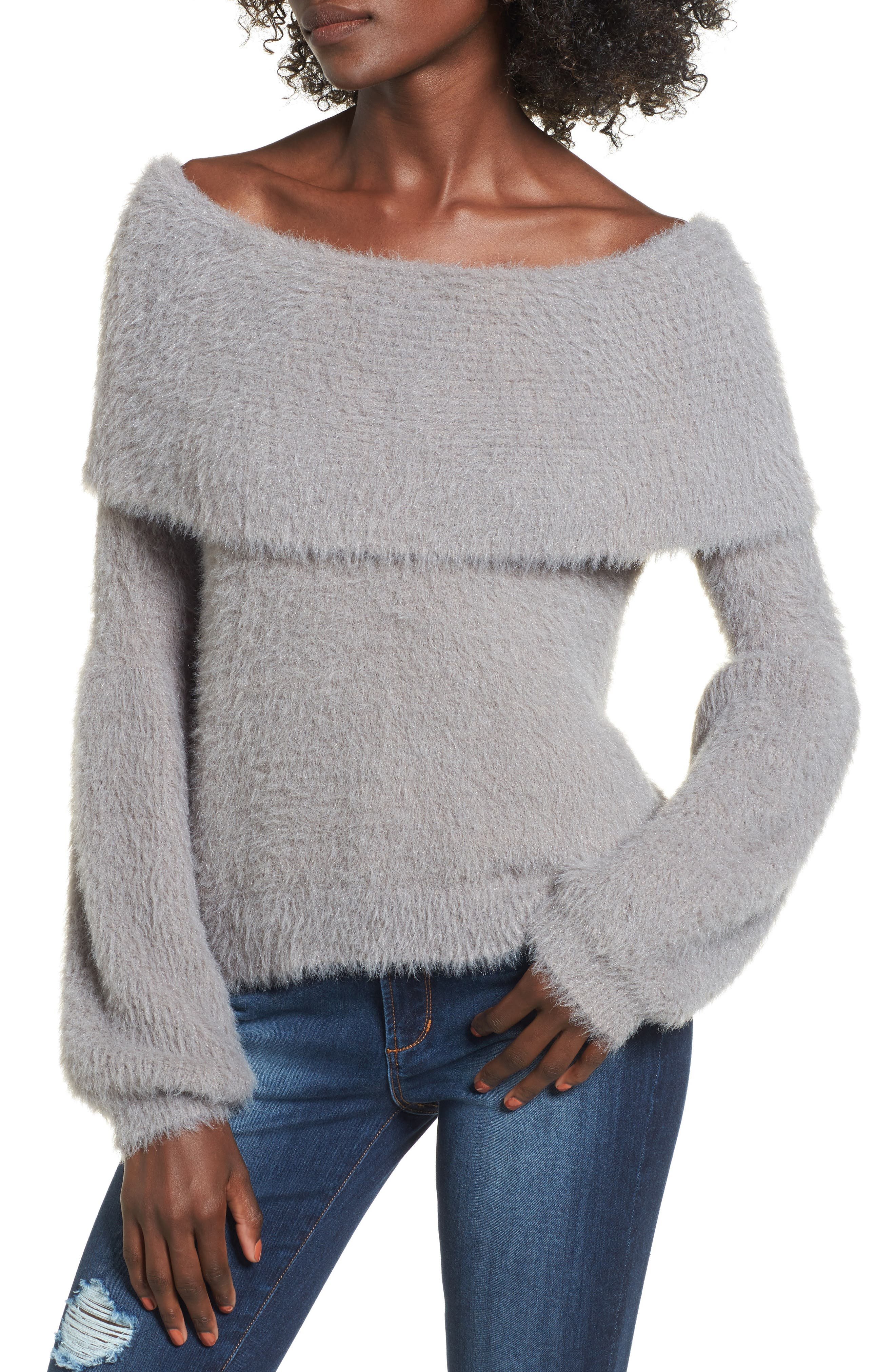 Off the Shoulder Sweater,                         Main,                         color, Grey Cloudburst
