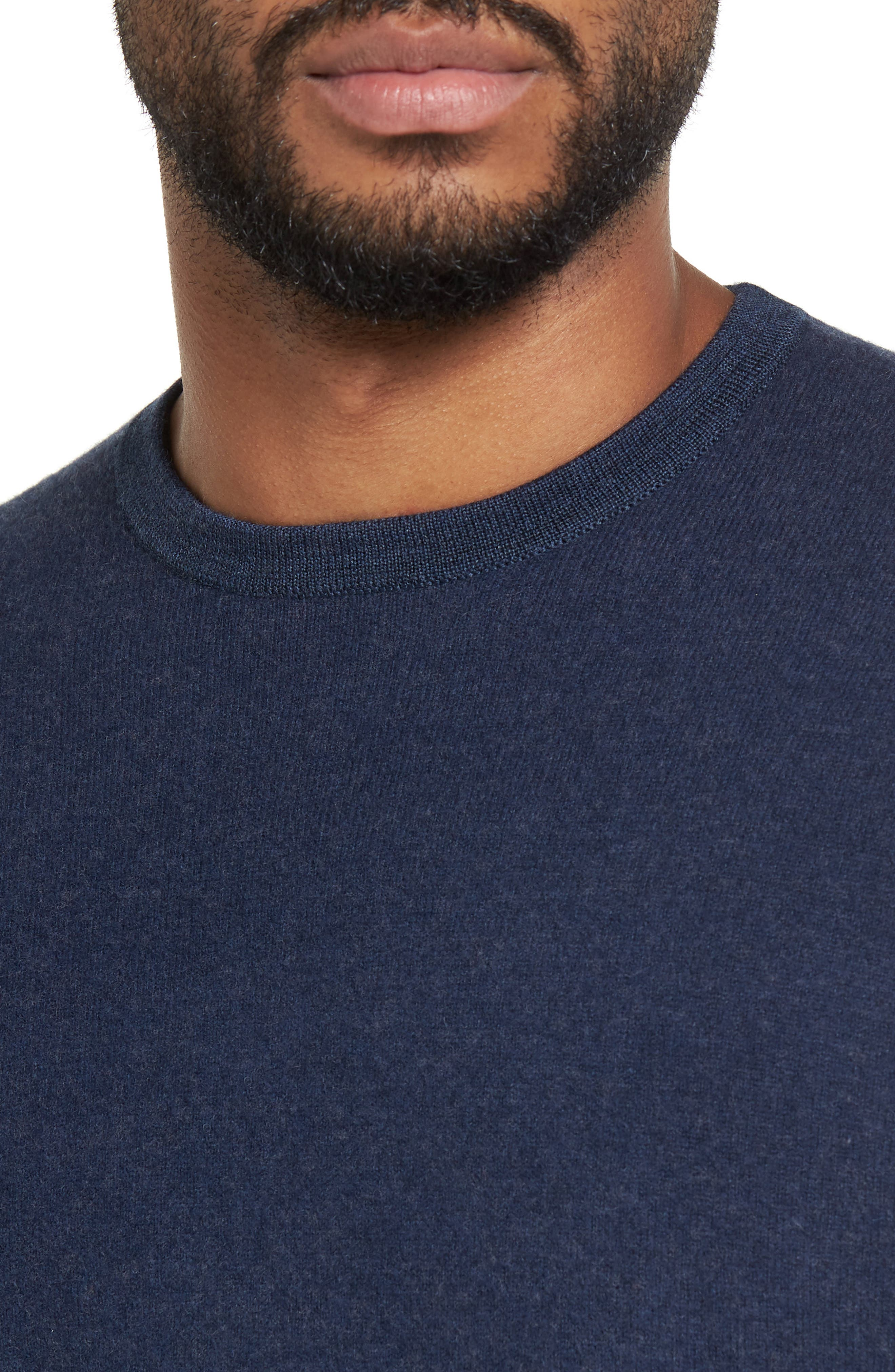 Merino Wool Blend Sweater,                             Alternate thumbnail 4, color,                             Navy Iris