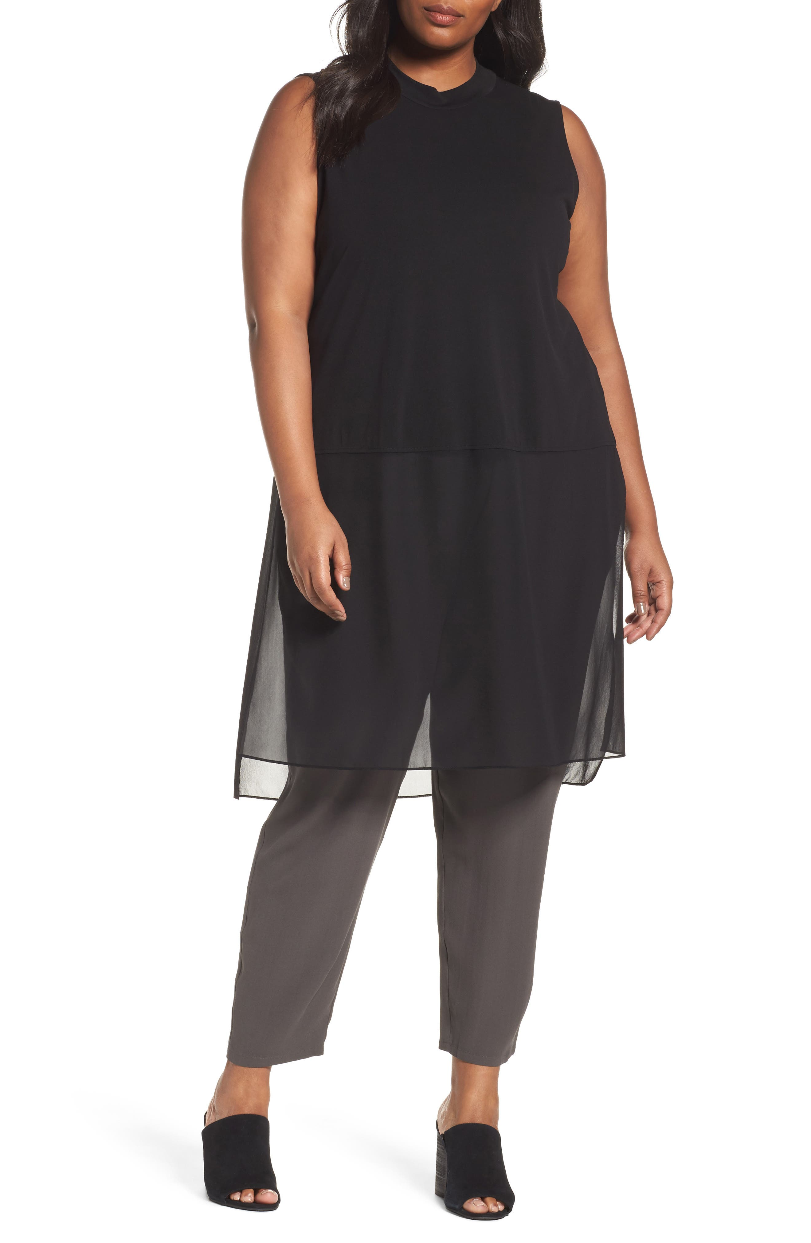 Alternate Image 1 Selected - Eileen Fisher Silk Jersey & Chiffon Tunic (Plus Size)