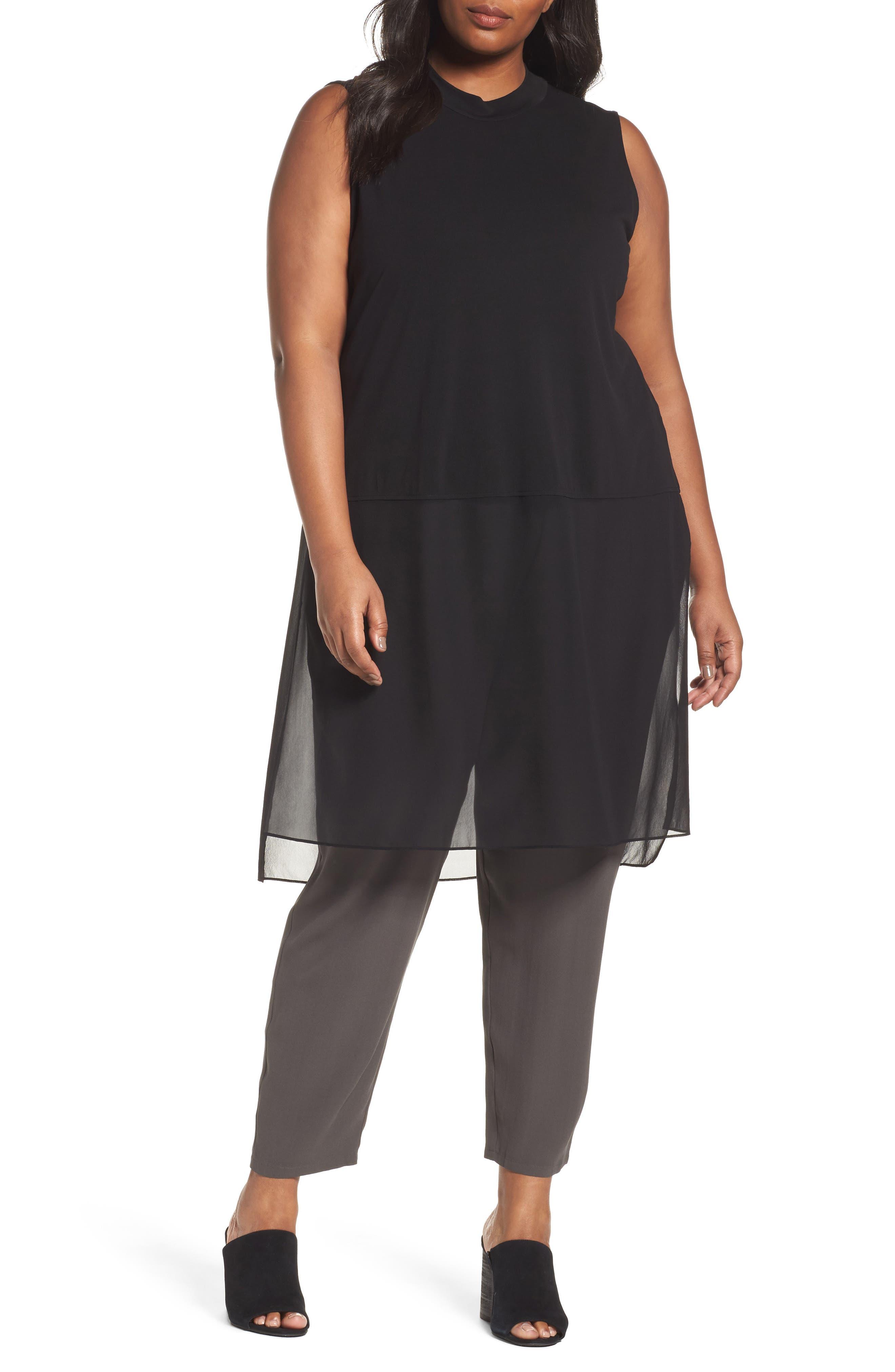 Silk Jersey & Chiffon Tunic,                         Main,                         color, Black