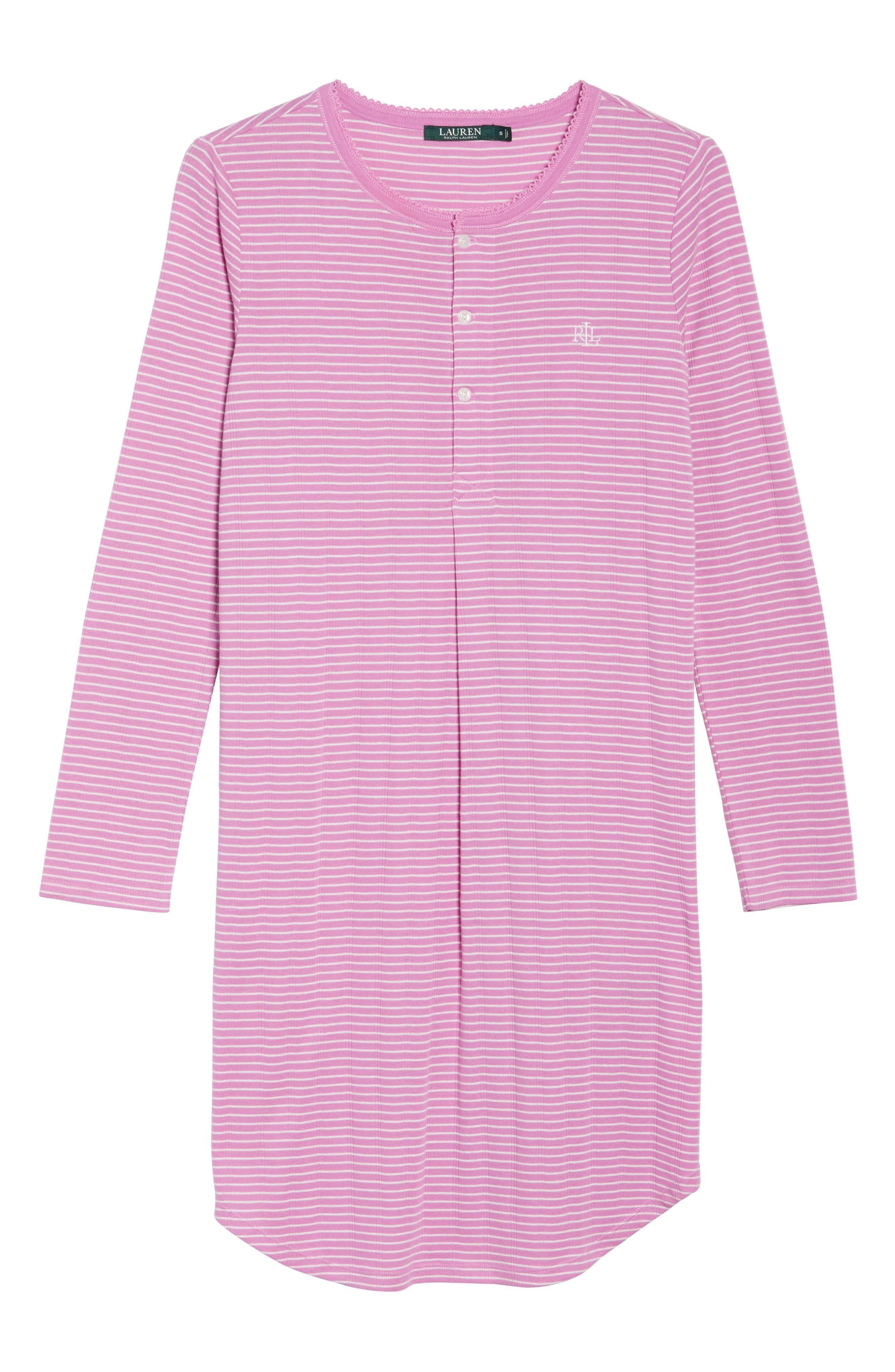 Alternate Image 4  - Lauren Ralph Lauren Stripe Henley Sleep Shirt