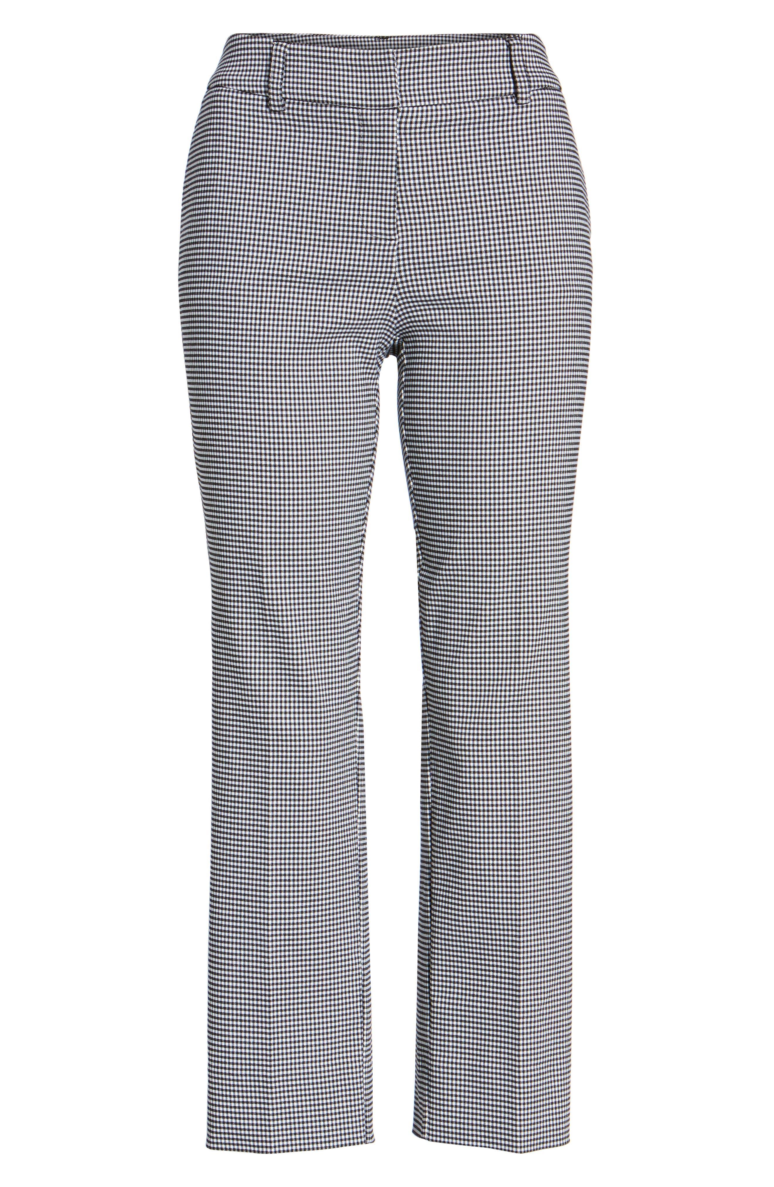 Crop Stretch Cotton Pants,                             Alternate thumbnail 3, color,                             Black- White Gingham