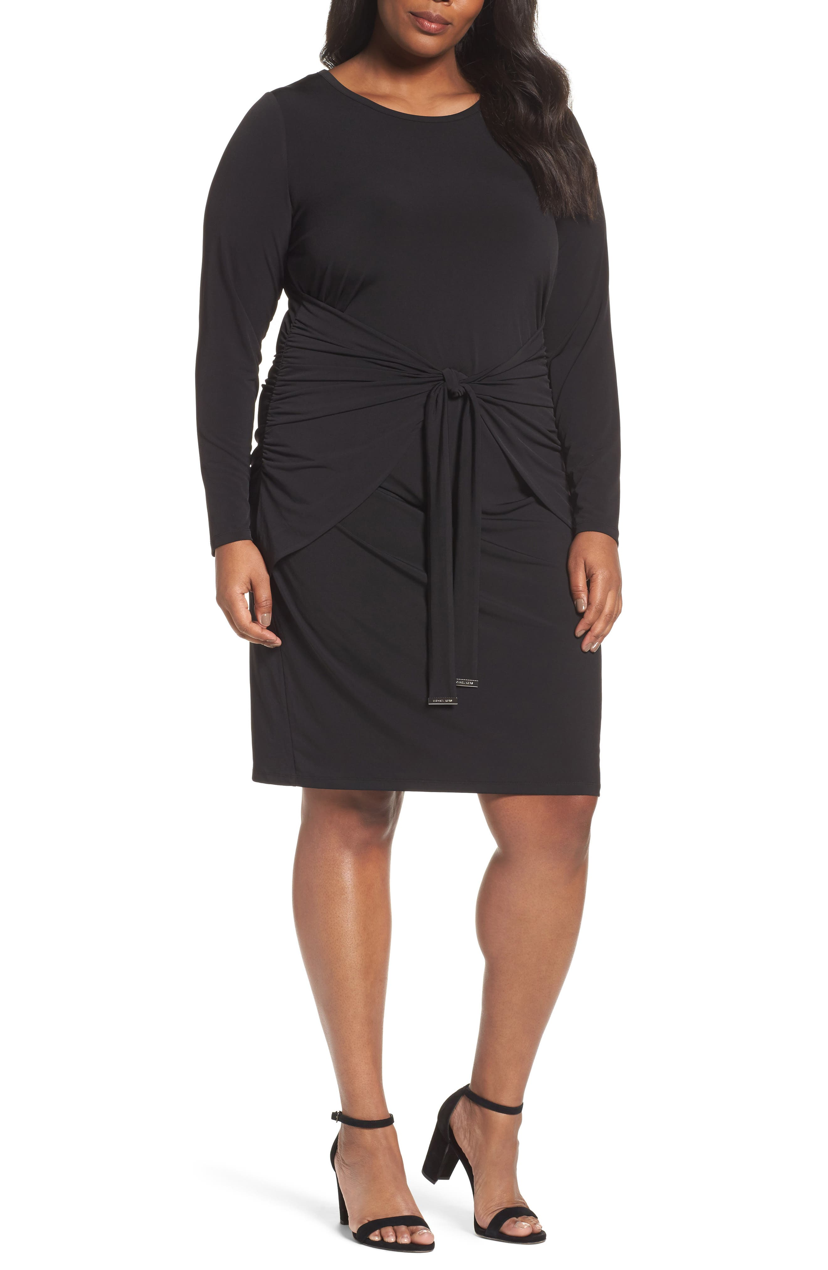 Twist Waist Dress,                             Main thumbnail 1, color,                             Black