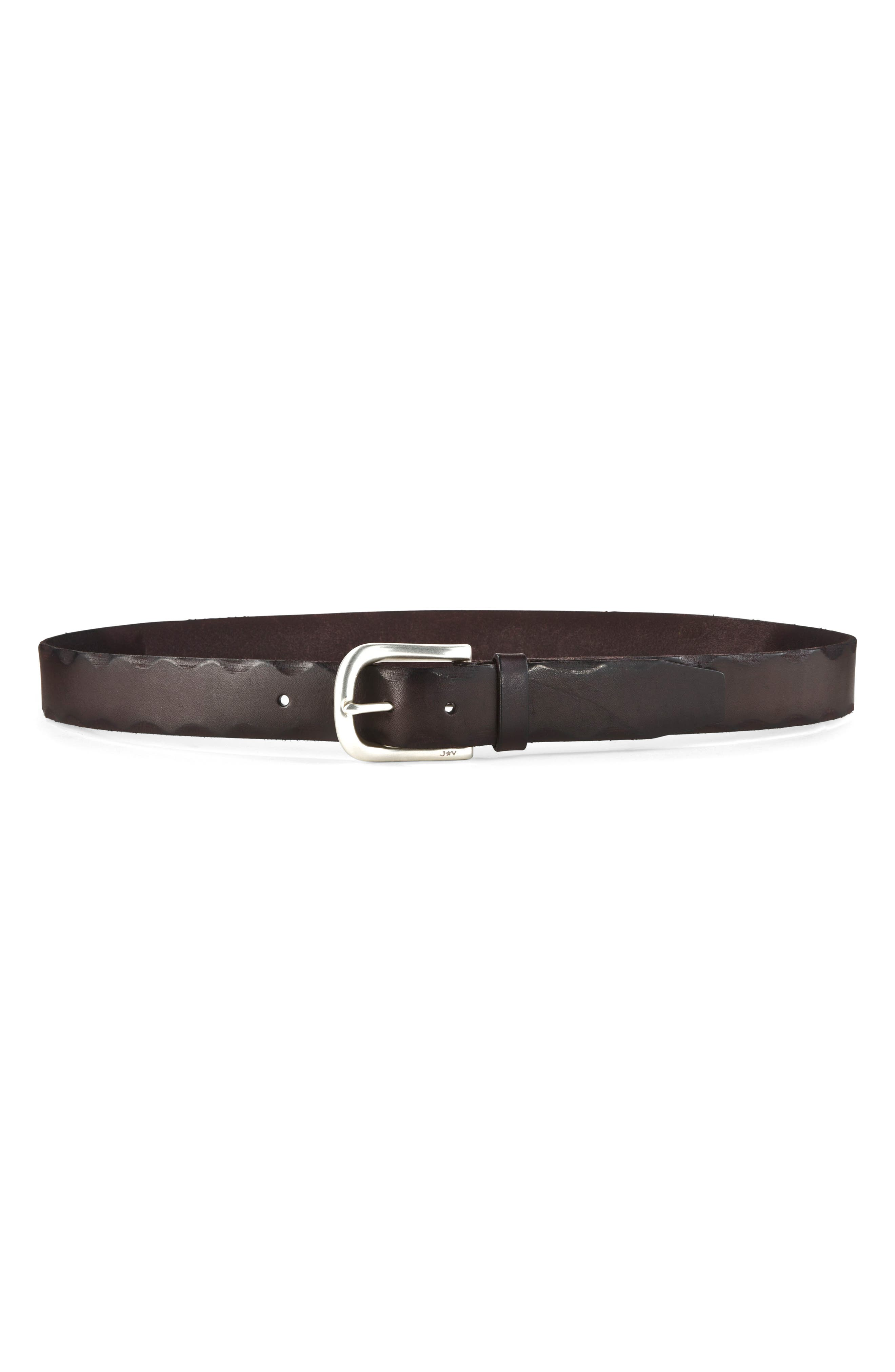 Leather Belt,                         Main,                         color, Chocolate