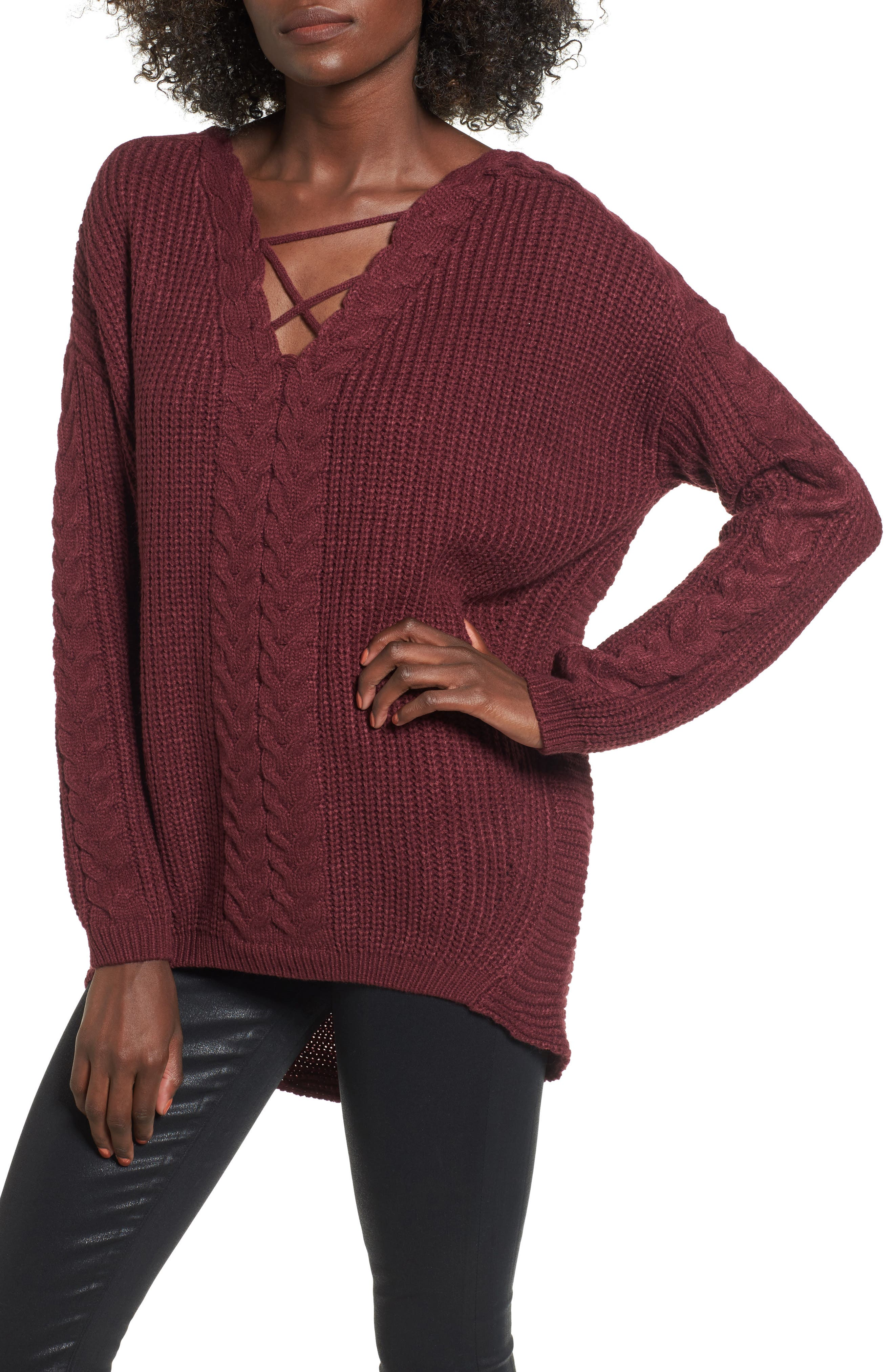 Cross Front Braided Sweater,                             Main thumbnail 1, color,                             Zinfandel