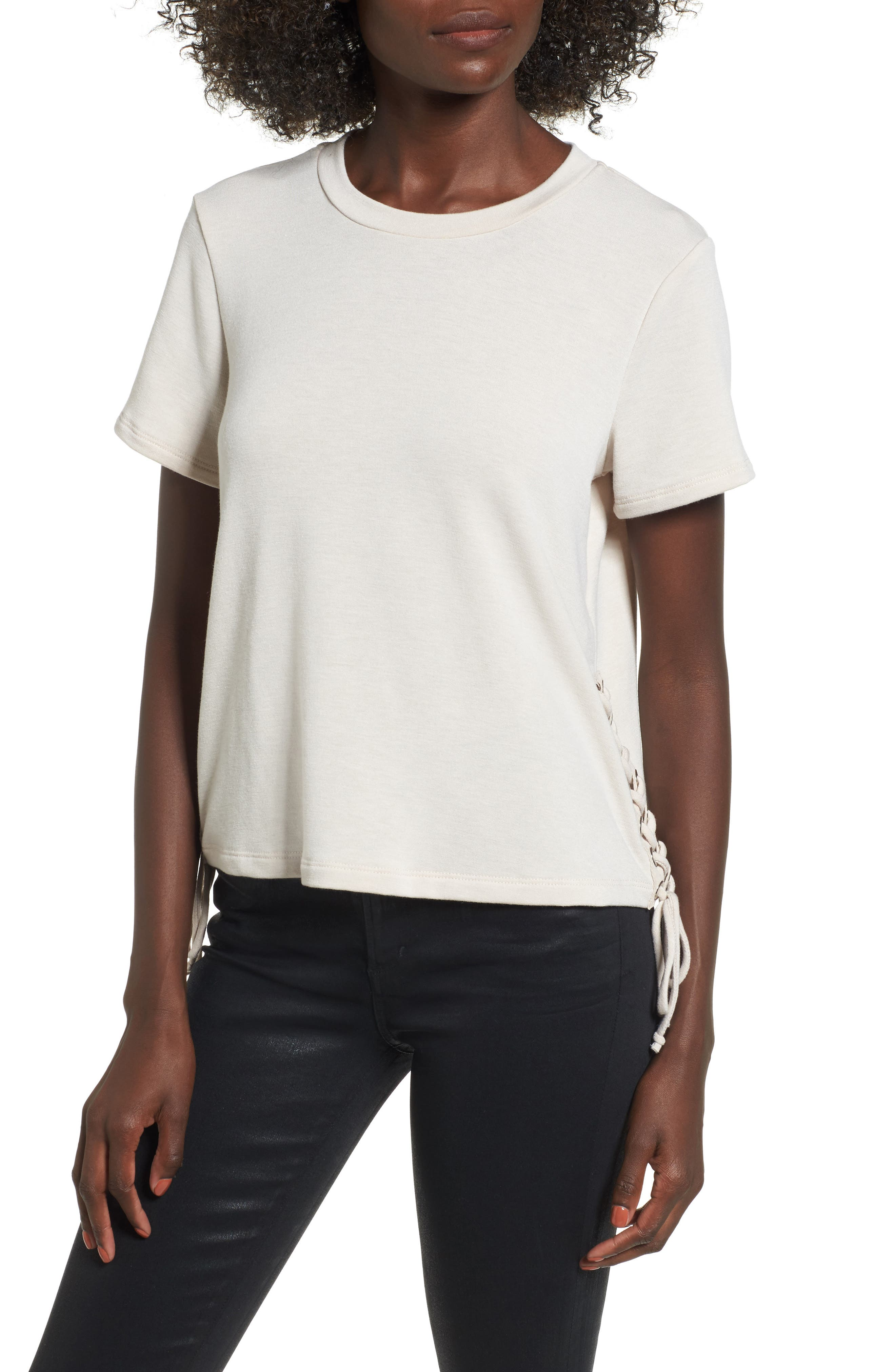 Lace-Up Tee,                             Main thumbnail 1, color,                             Oxford Tan