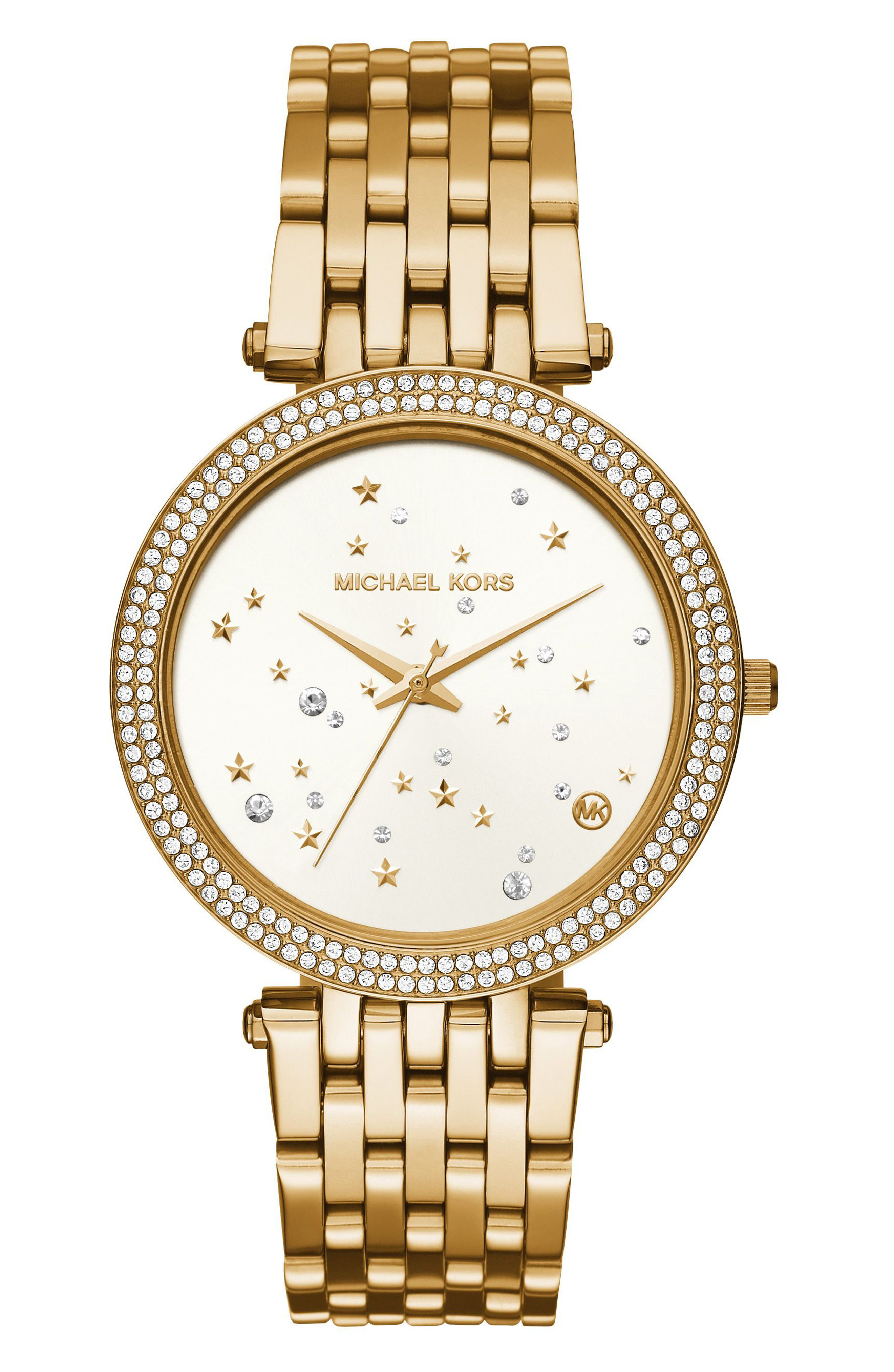 Darci Star Bracelet Watch, 39mm,                         Main,                         color, Gold/ White/ Gold