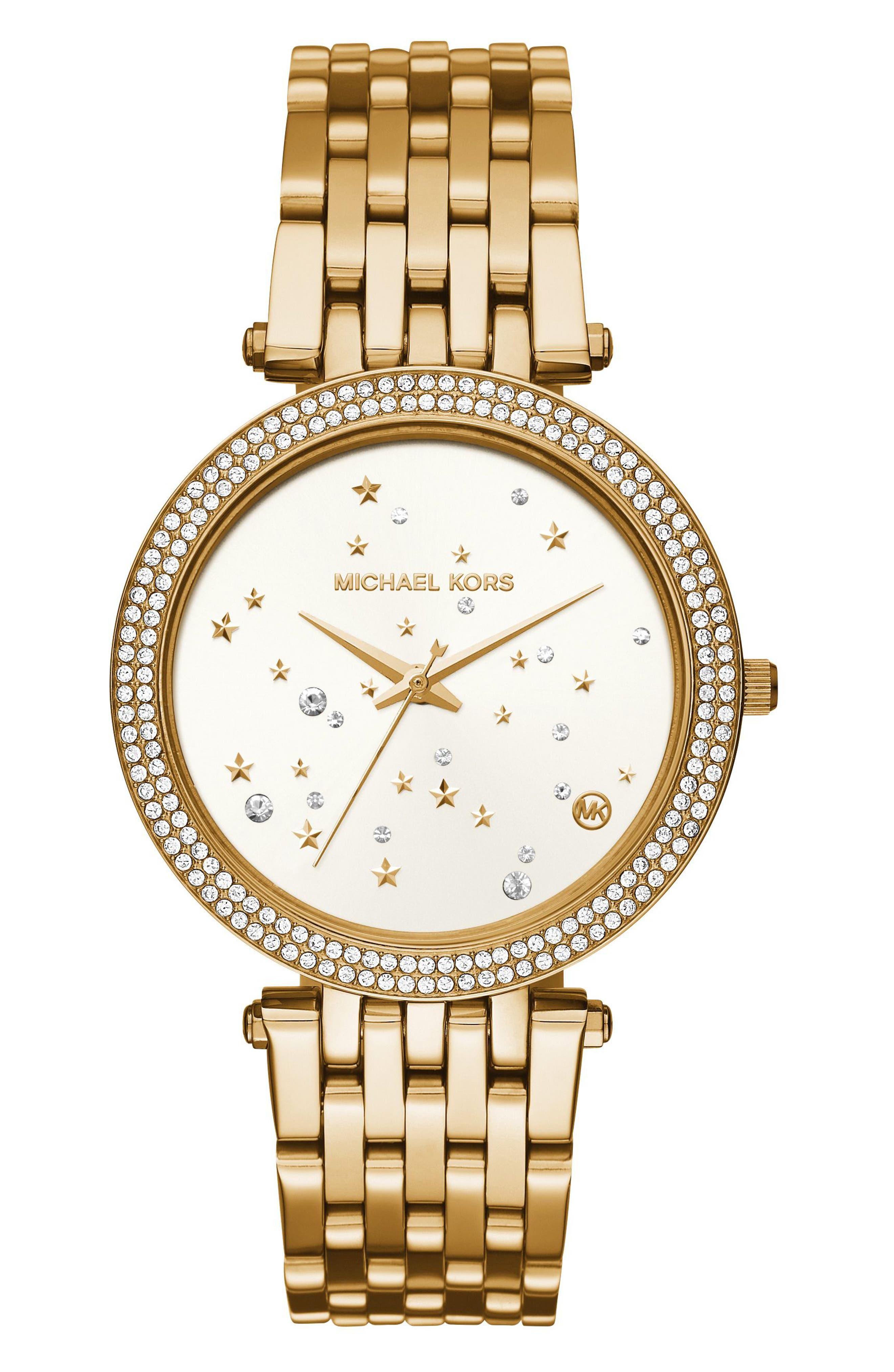 Darci Star Bracelet Watch, 39mm,                         Main,                         color, Gold/ White/ Gold