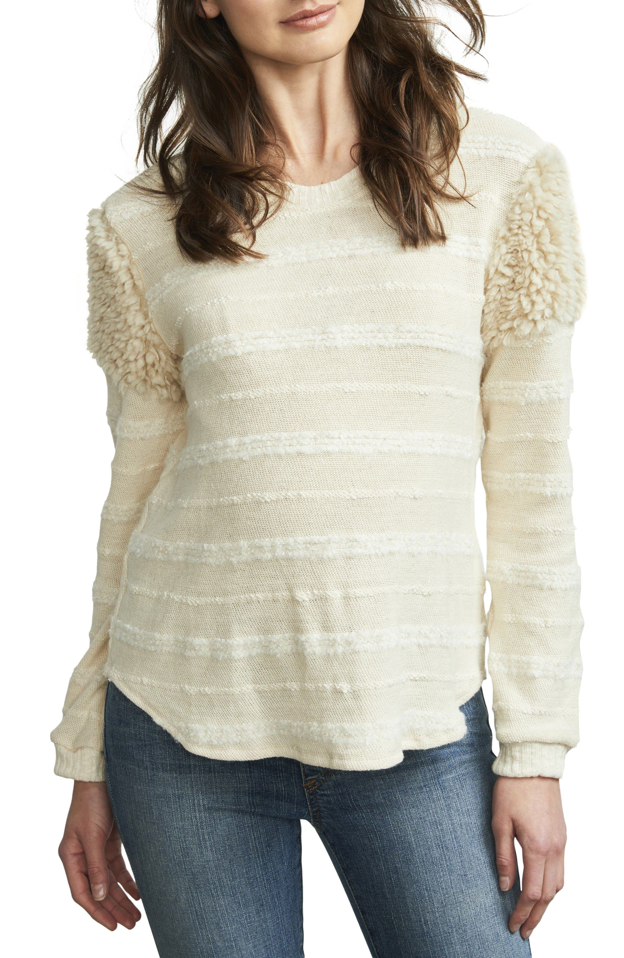 Fuzzy Shoulder Textured Maternity Sweater,                         Main,                         color, Vanilla