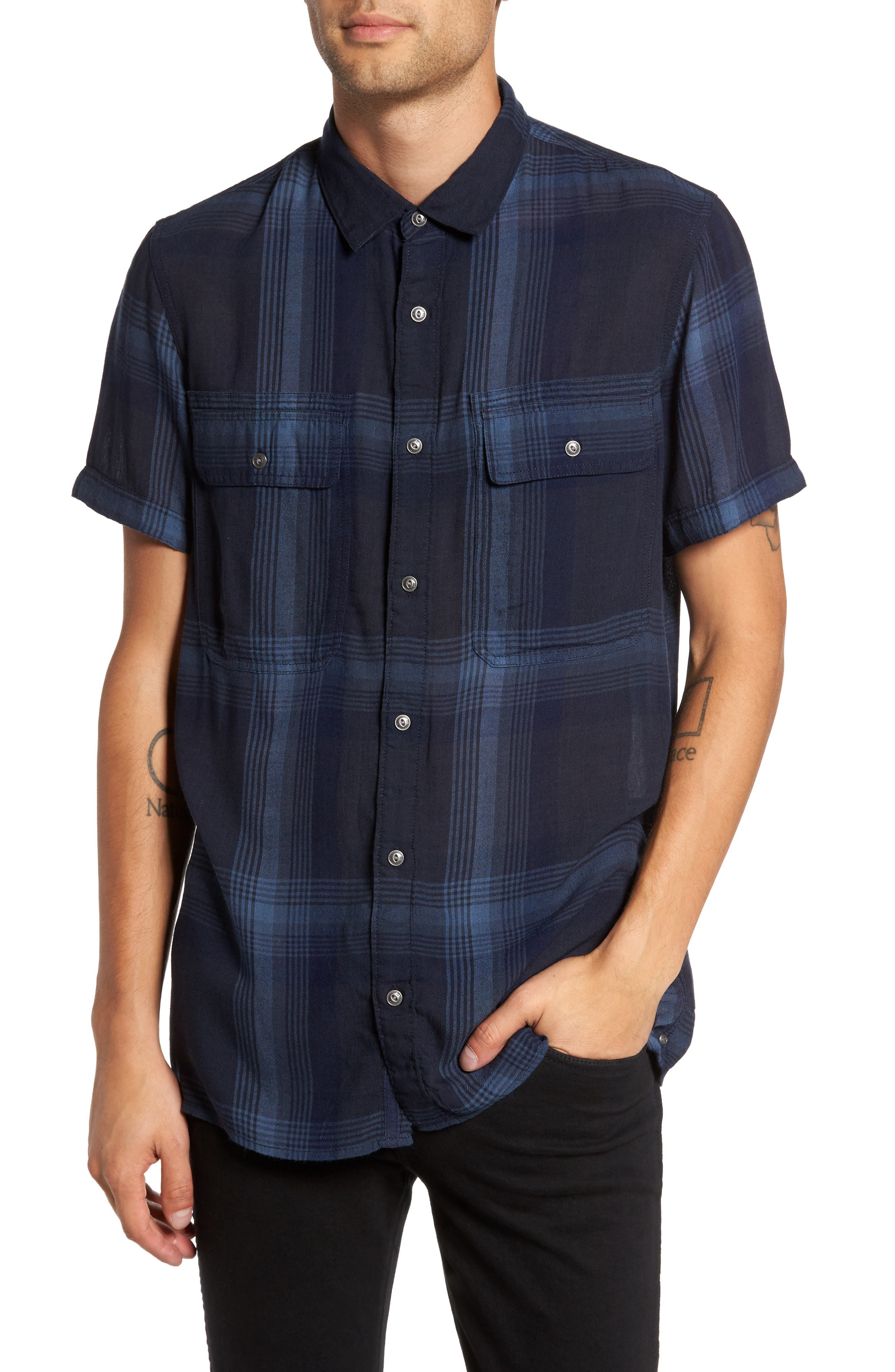 Drapey Sport Shirt,                         Main,                         color, Blue Granite Plaid